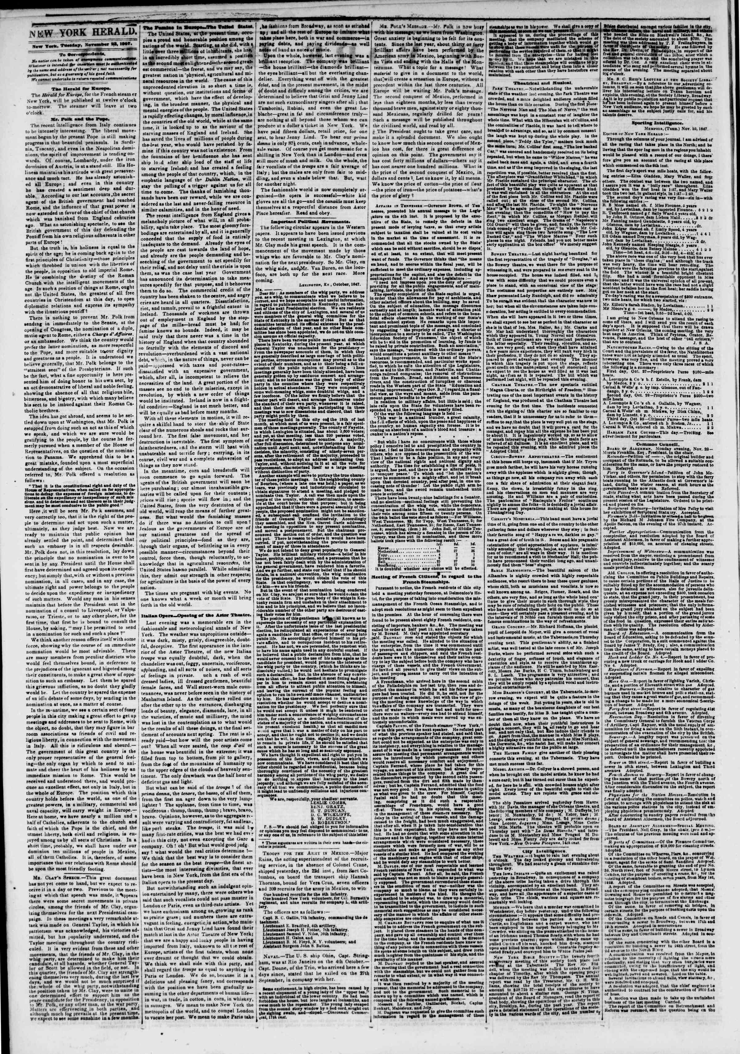 Newspaper of The New York Herald dated November 23, 1847 Page 2