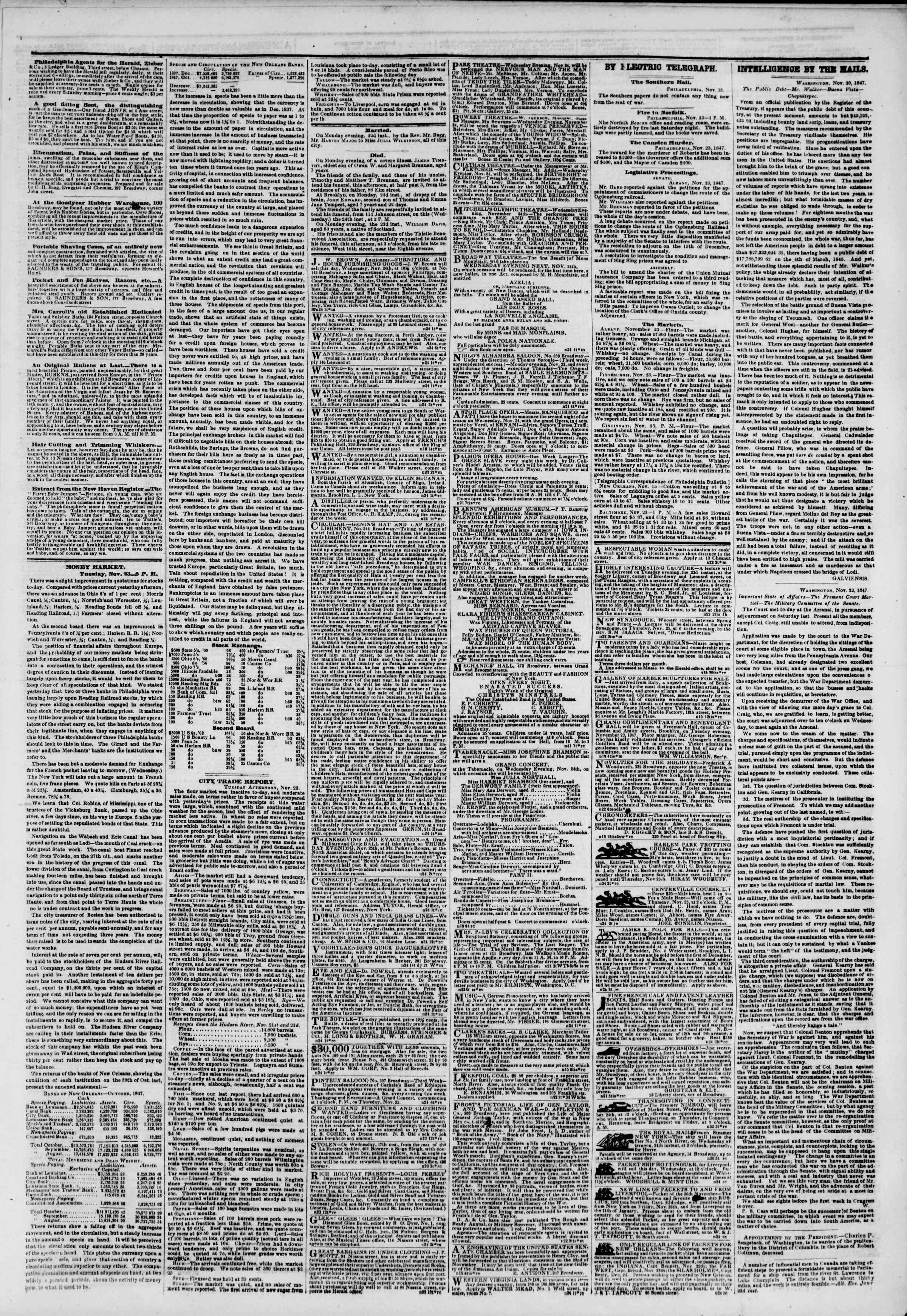 Newspaper of The New York Herald dated November 24, 1847 Page 3
