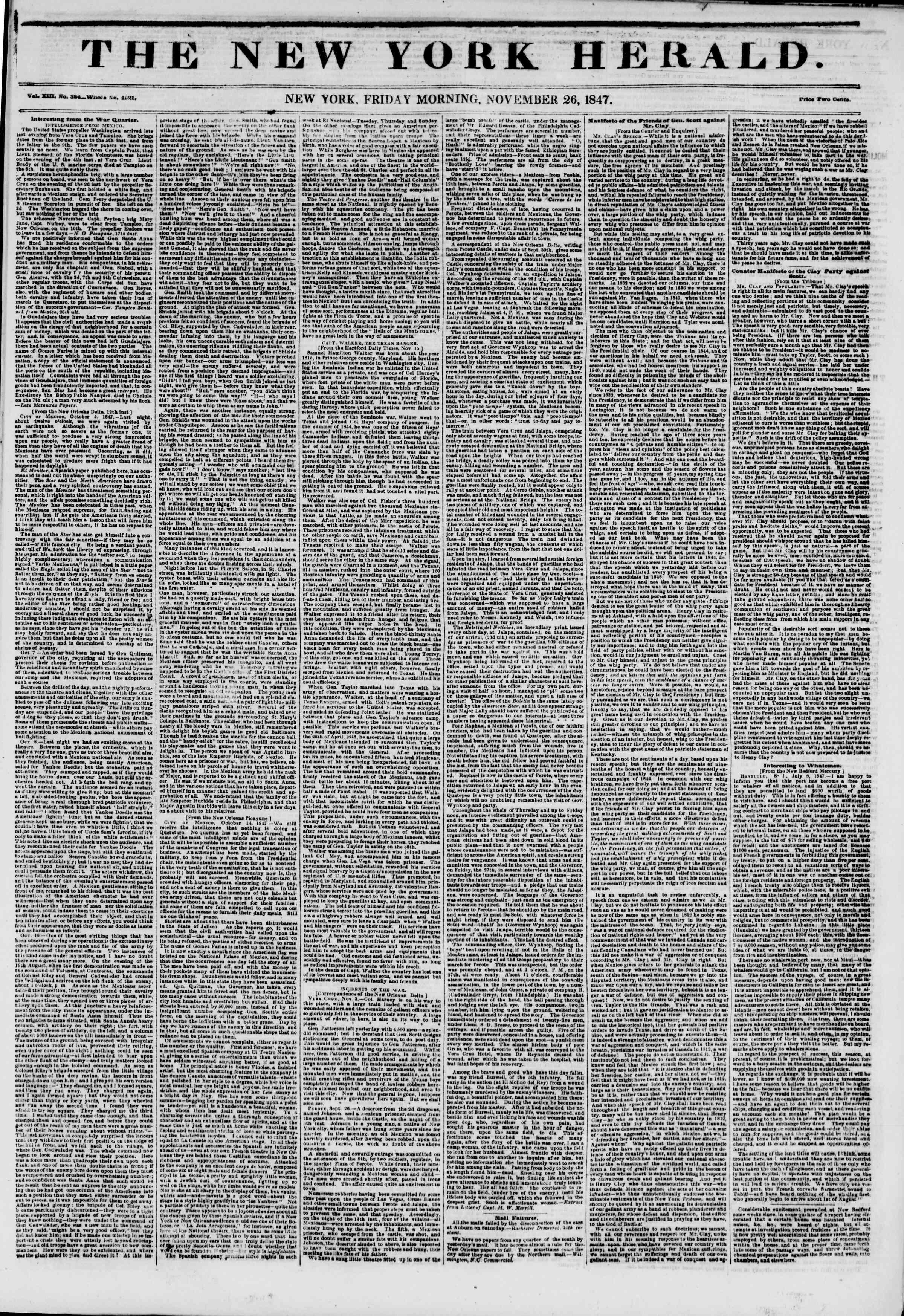 26 Kasım 1847 tarihli The New York Herald Gazetesi Sayfa 1