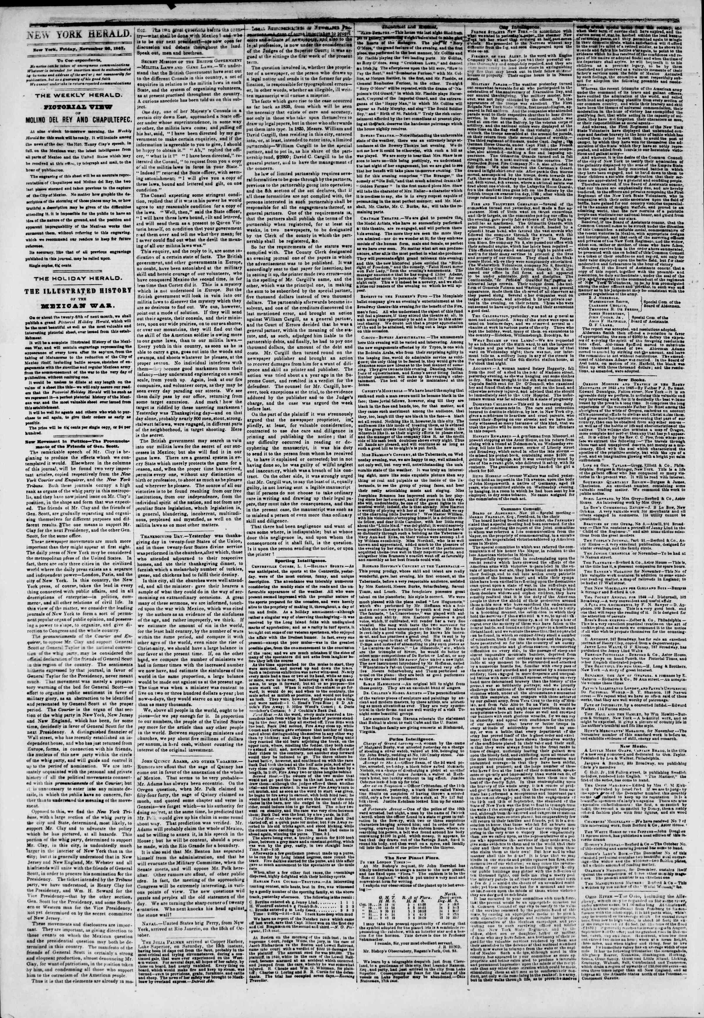 Newspaper of The New York Herald dated November 26, 1847 Page 2