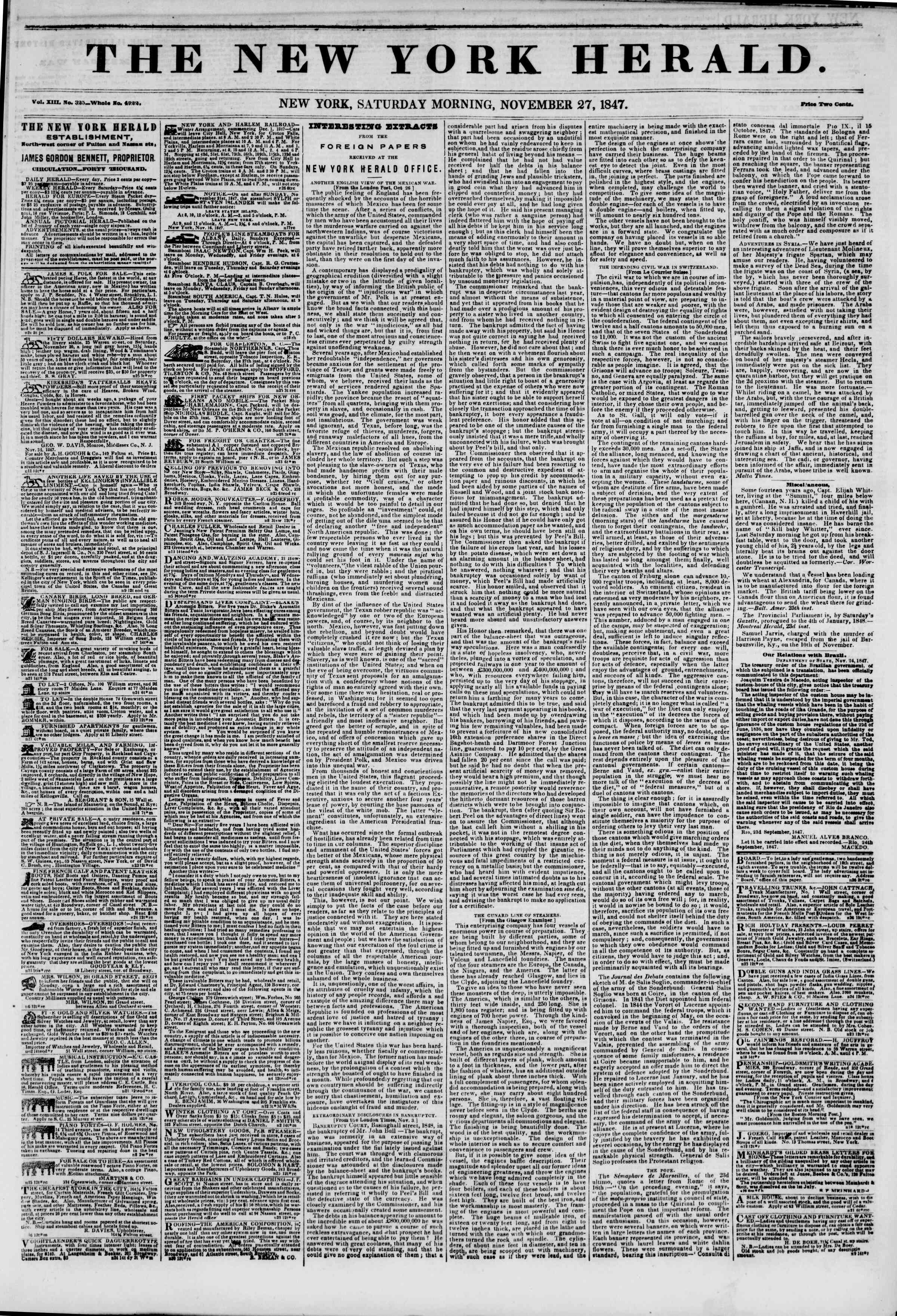 Newspaper of The New York Herald dated November 27, 1847 Page 1