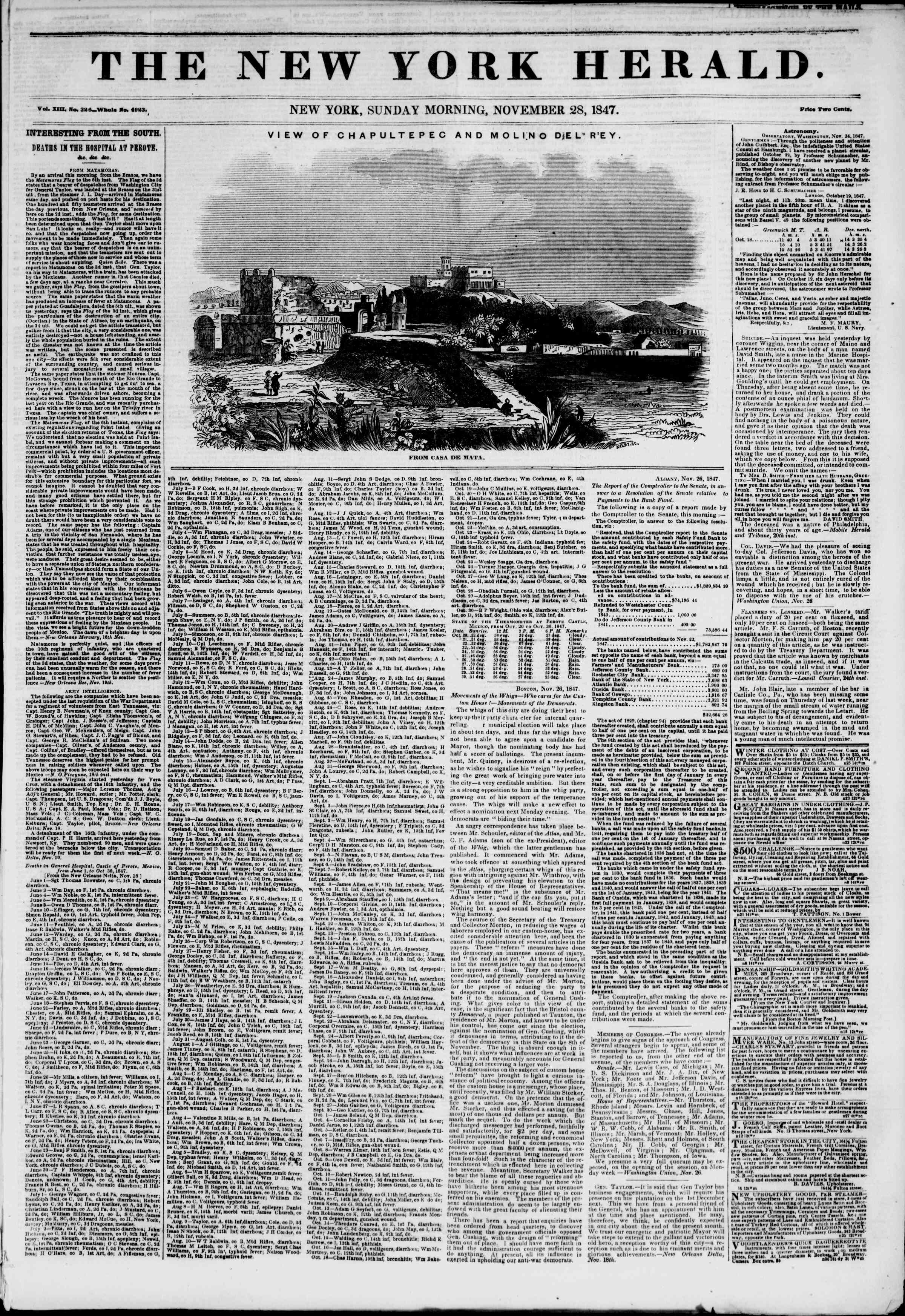 Newspaper of The New York Herald dated November 28, 1847 Page 1