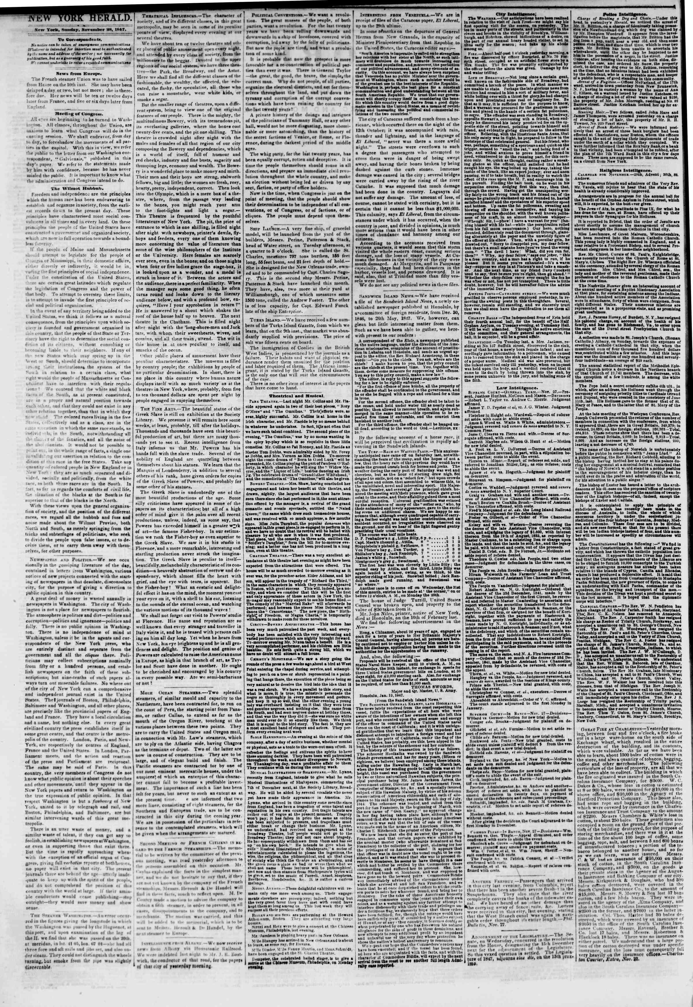 Newspaper of The New York Herald dated November 28, 1847 Page 2