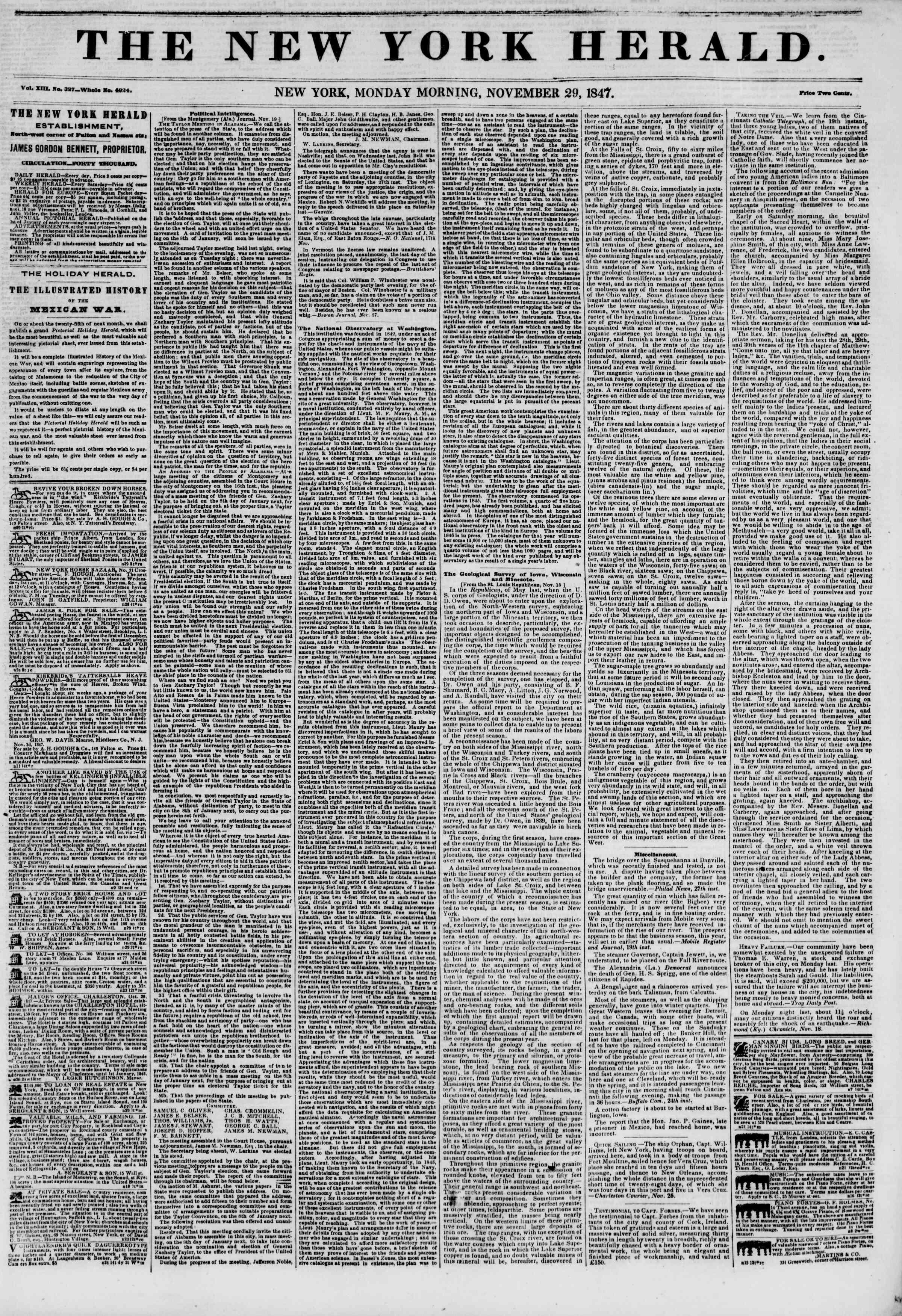 Newspaper of The New York Herald dated November 29, 1847 Page 1