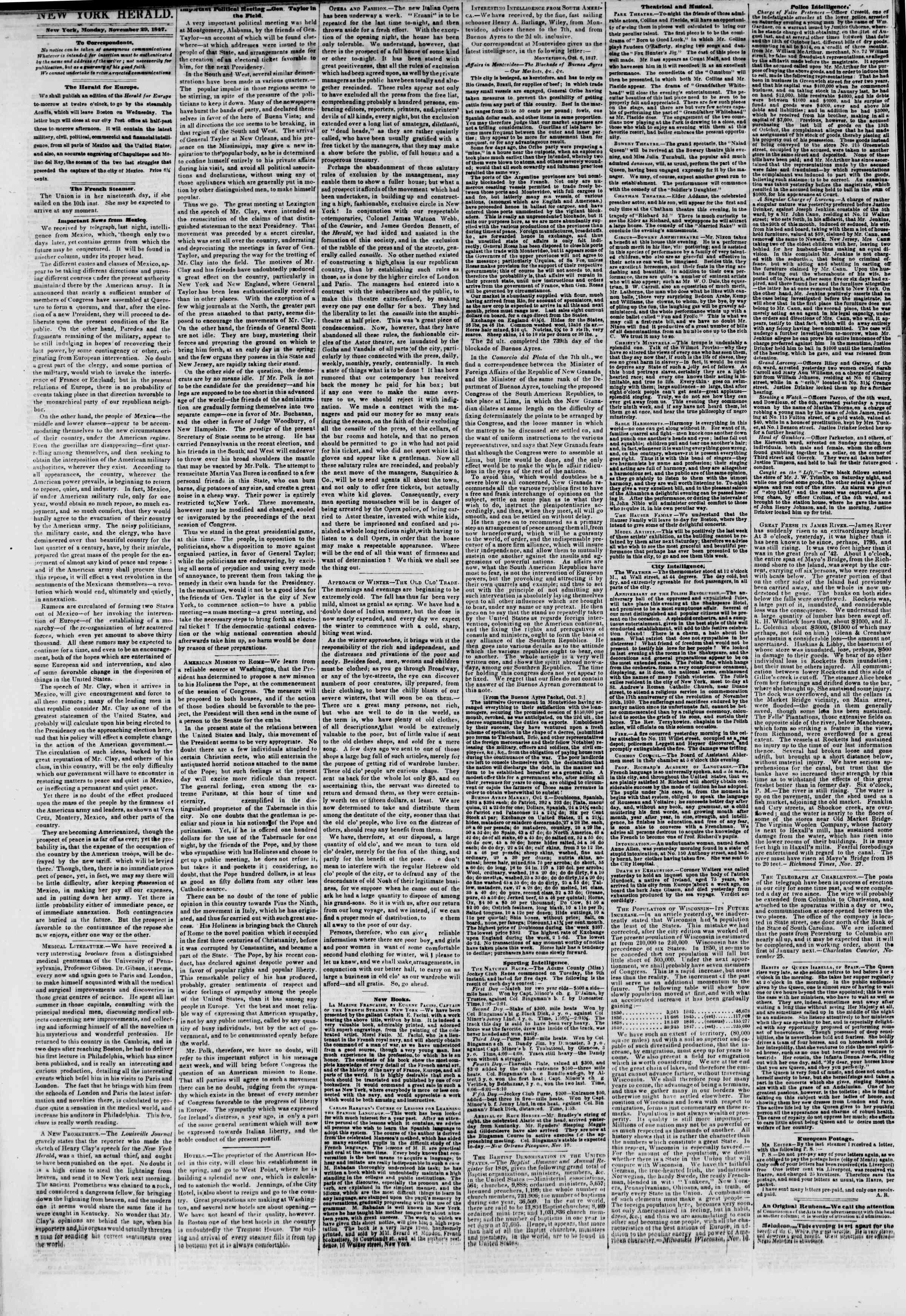 Newspaper of The New York Herald dated November 29, 1847 Page 2