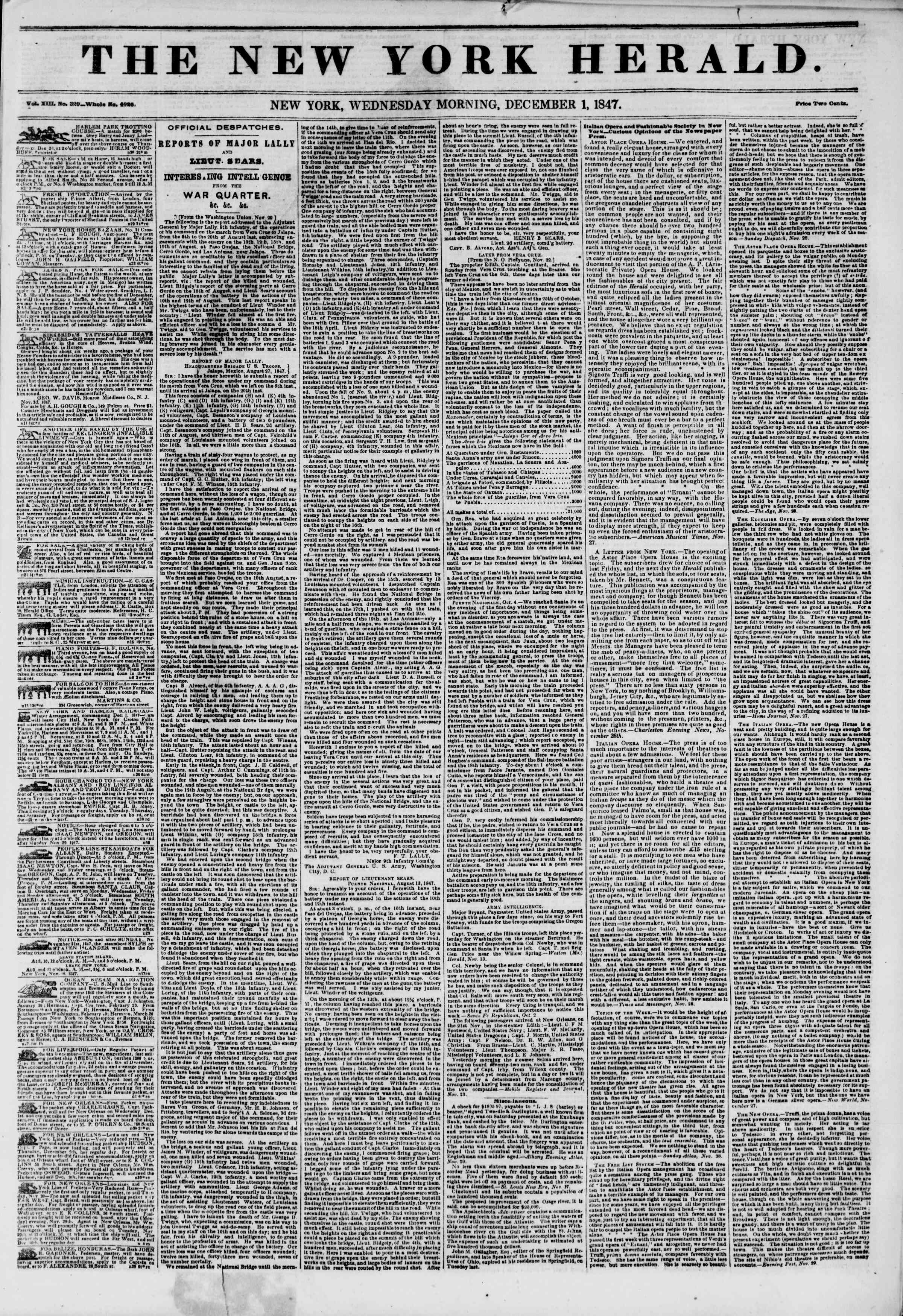 Newspaper of The New York Herald dated December 1, 1847 Page 1