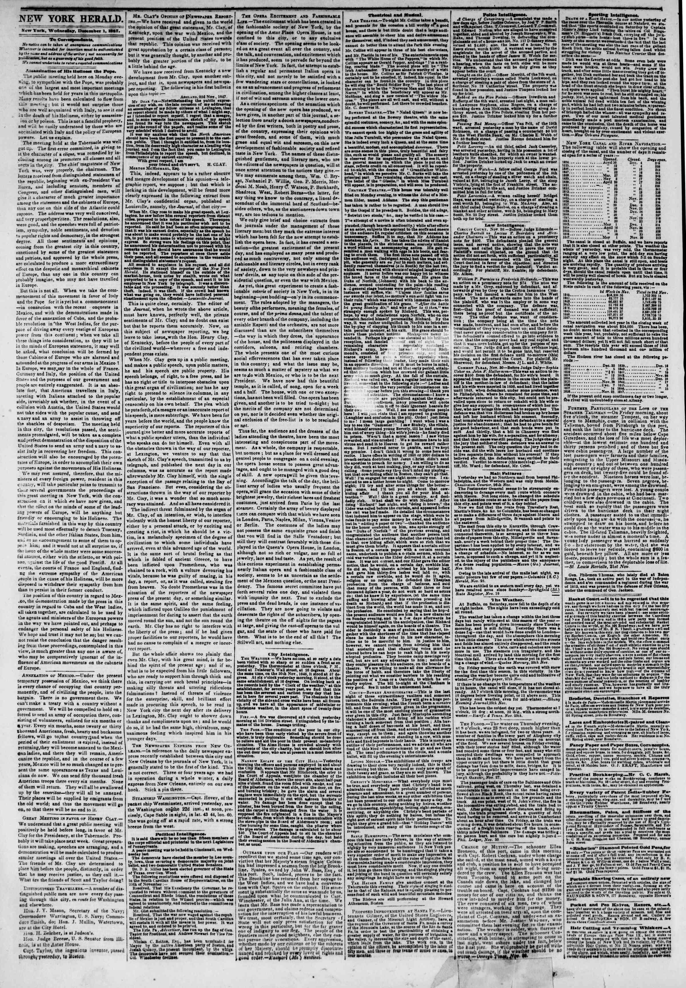 Newspaper of The New York Herald dated December 1, 1847 Page 2