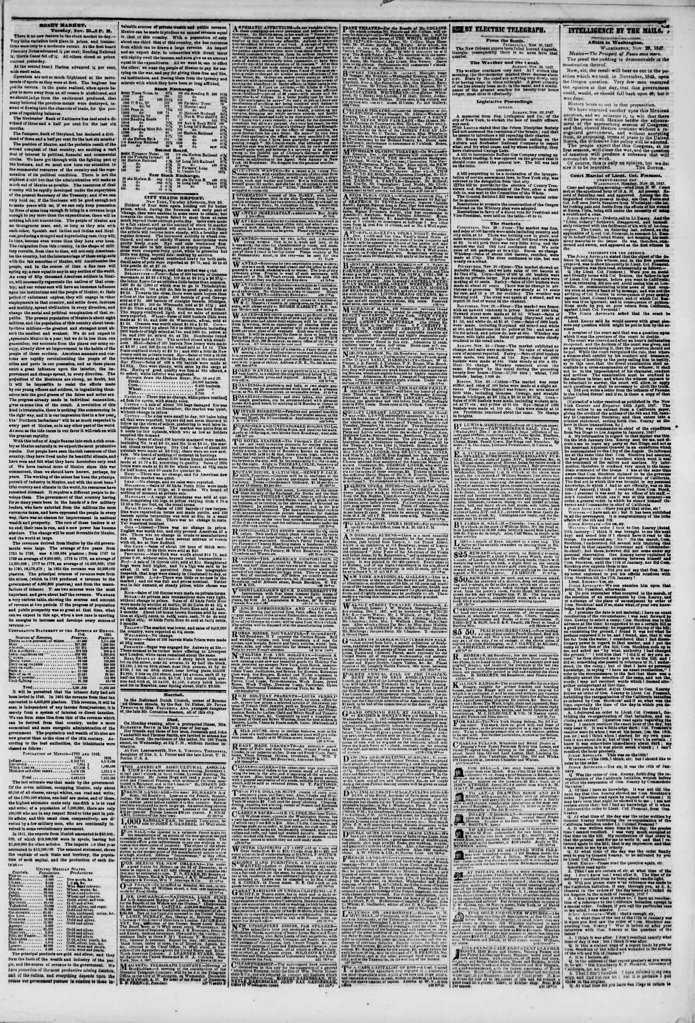 Newspaper of The New York Herald dated December 1, 1847 Page 3