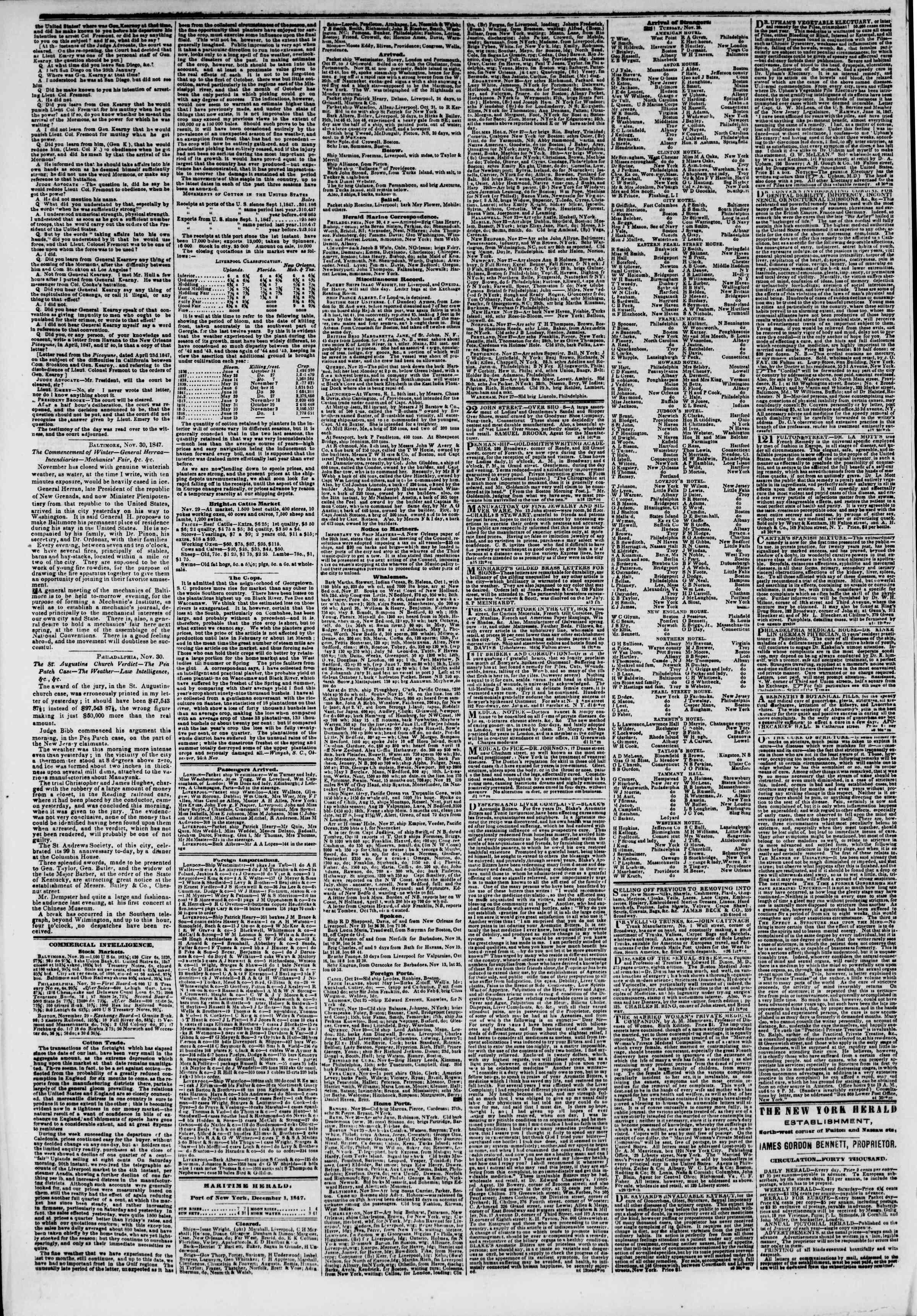1 Aralık 1847 tarihli The New York Herald Gazetesi Sayfa 4