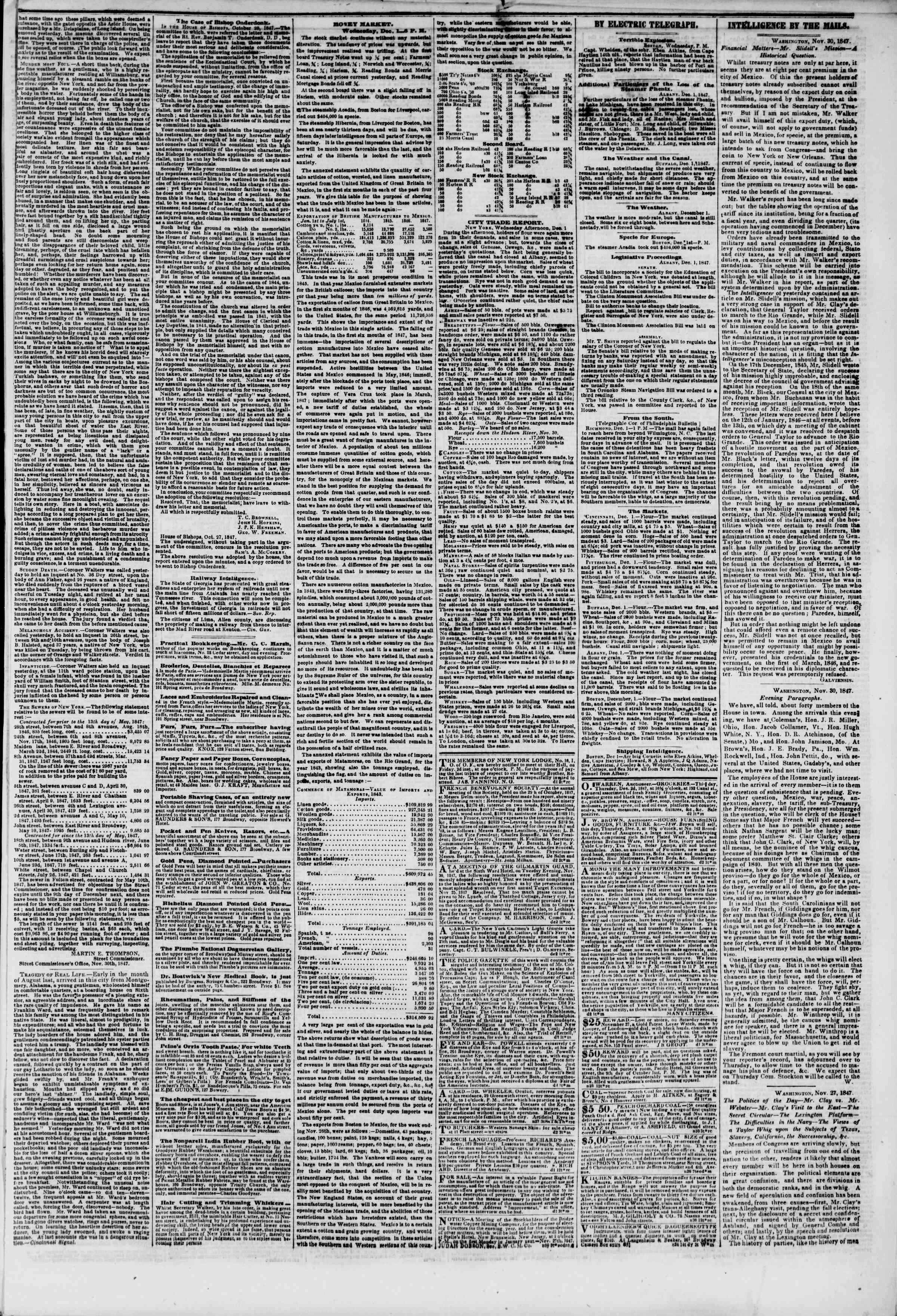 Newspaper of The New York Herald dated December 1, 1847 Page 5