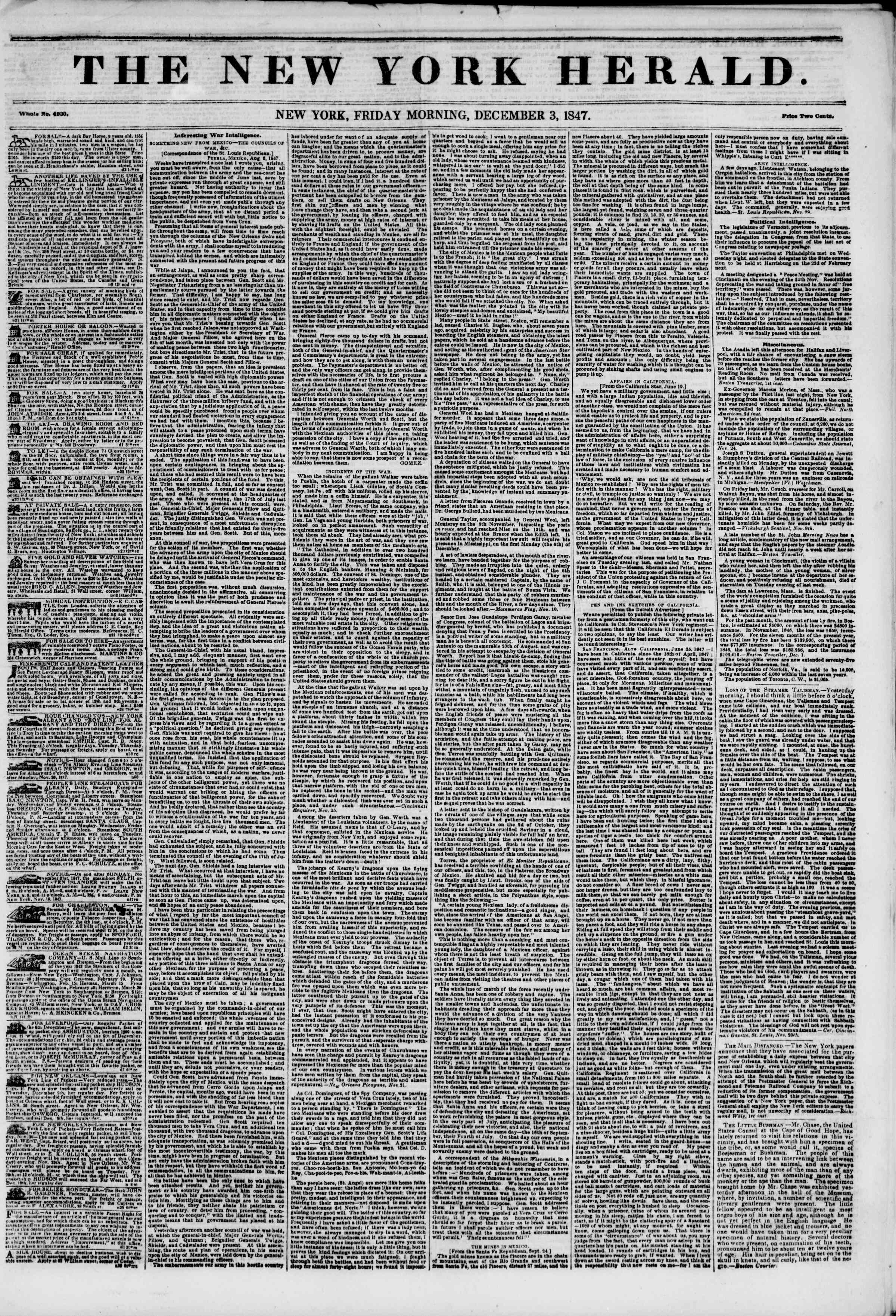 Newspaper of The New York Herald dated December 3, 1847 Page 1