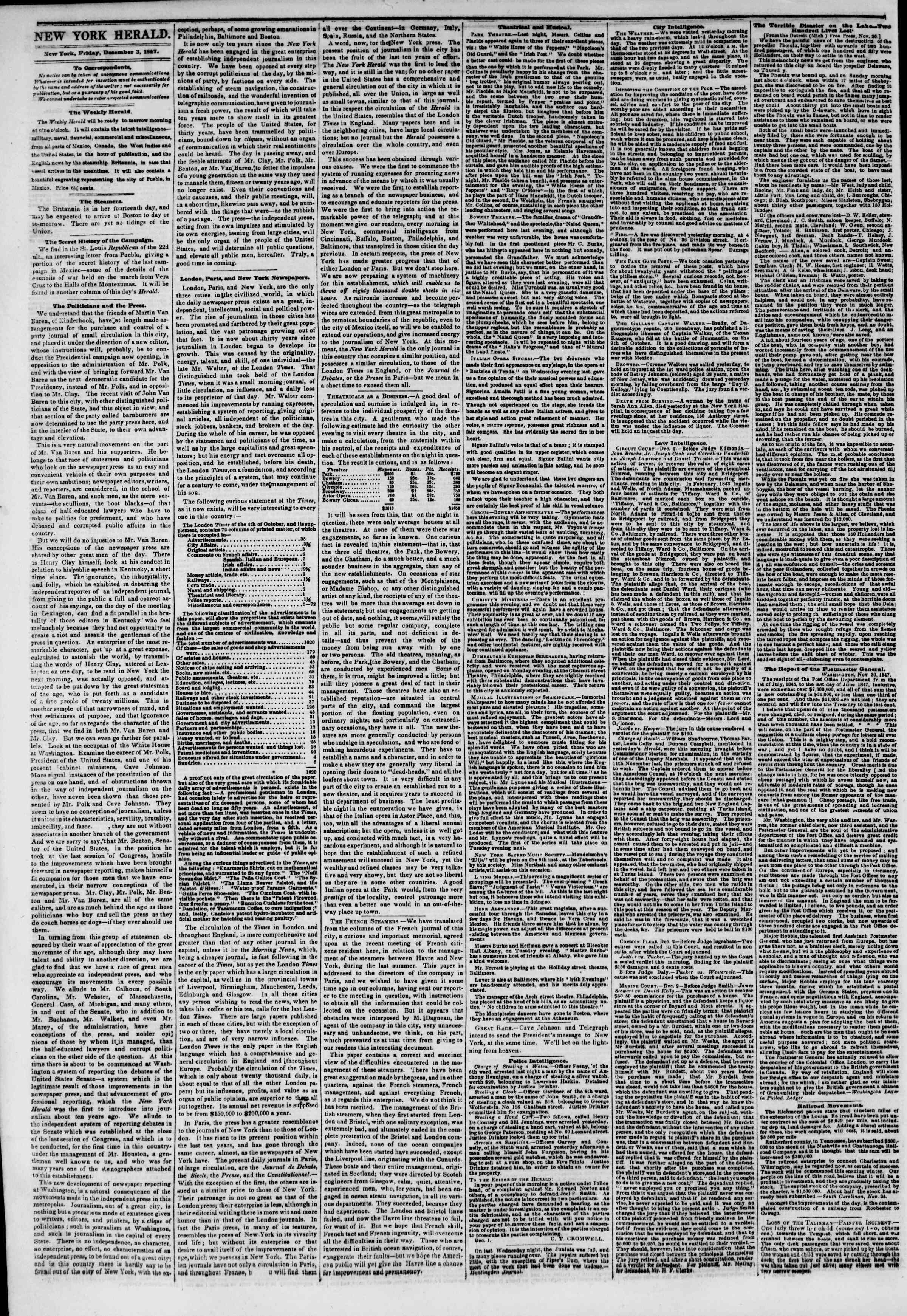 Newspaper of The New York Herald dated December 3, 1847 Page 2