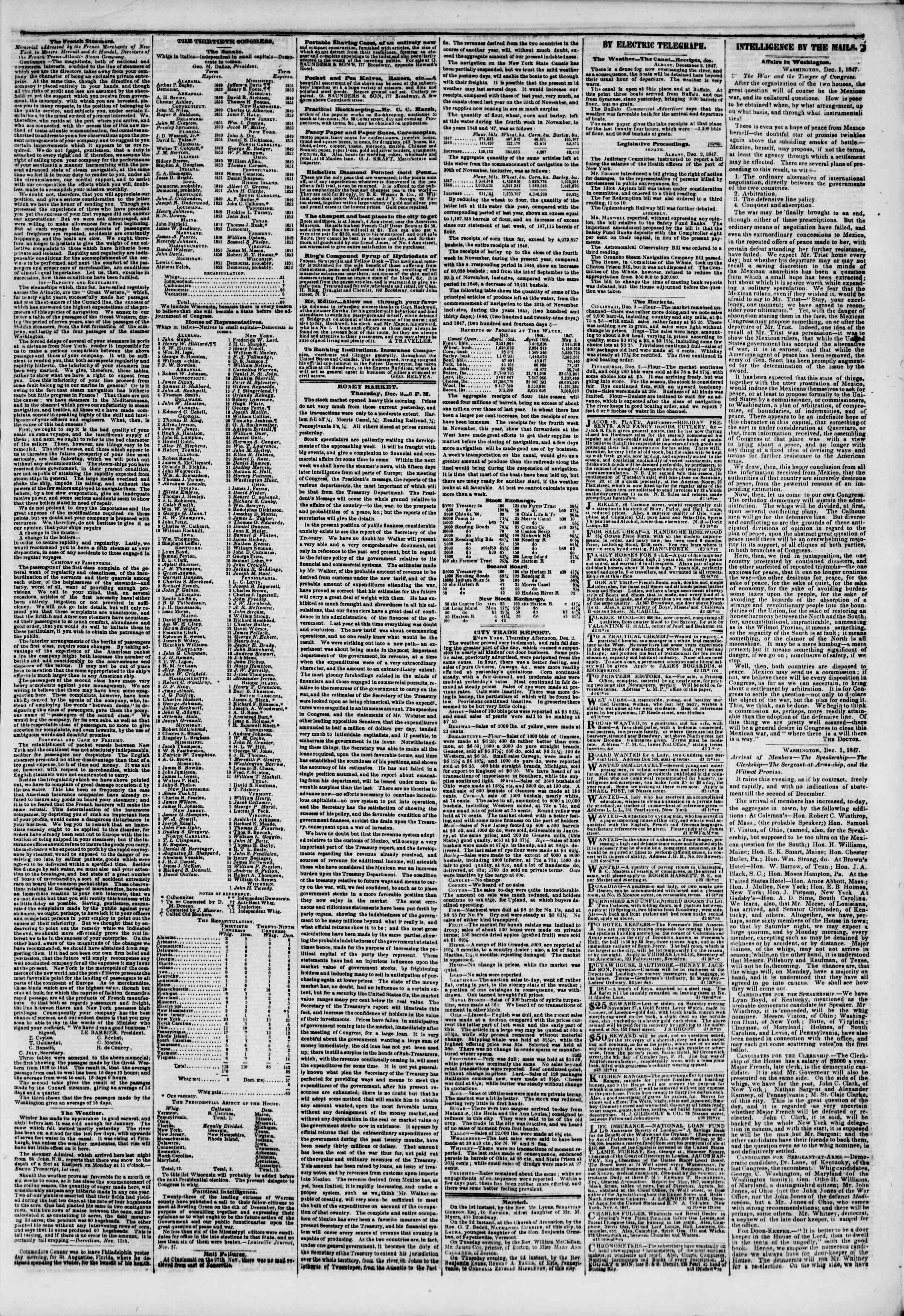 Newspaper of The New York Herald dated December 3, 1847 Page 3