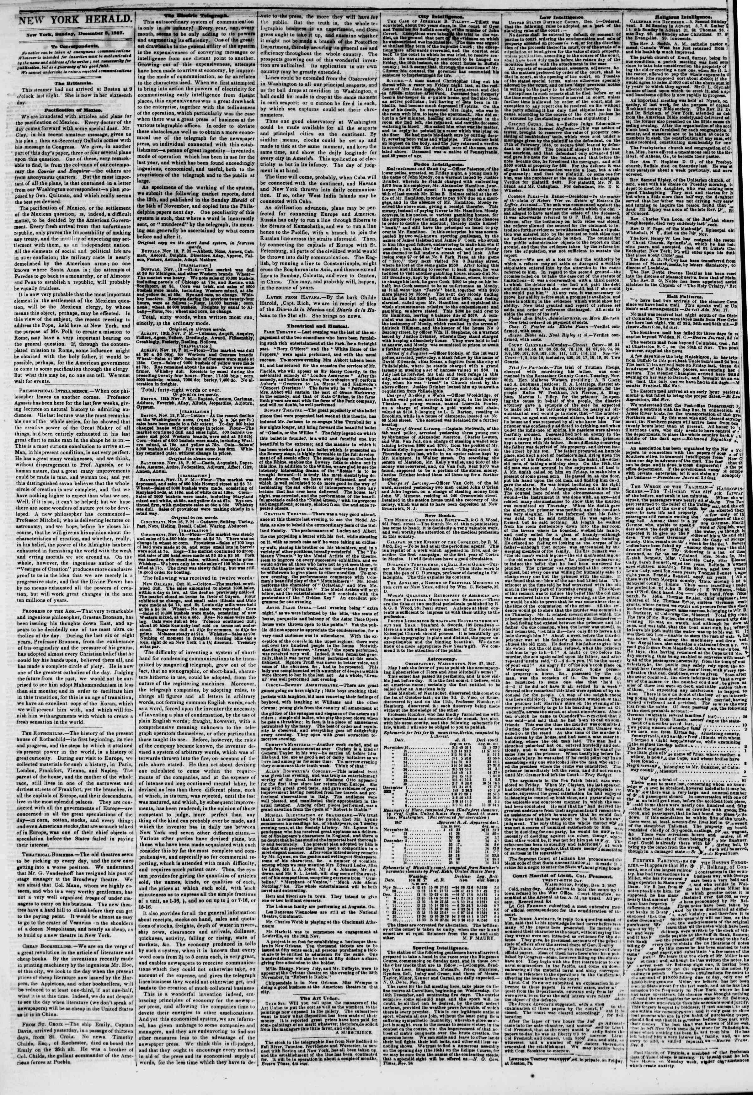 Newspaper of The New York Herald dated December 5, 1847 Page 2
