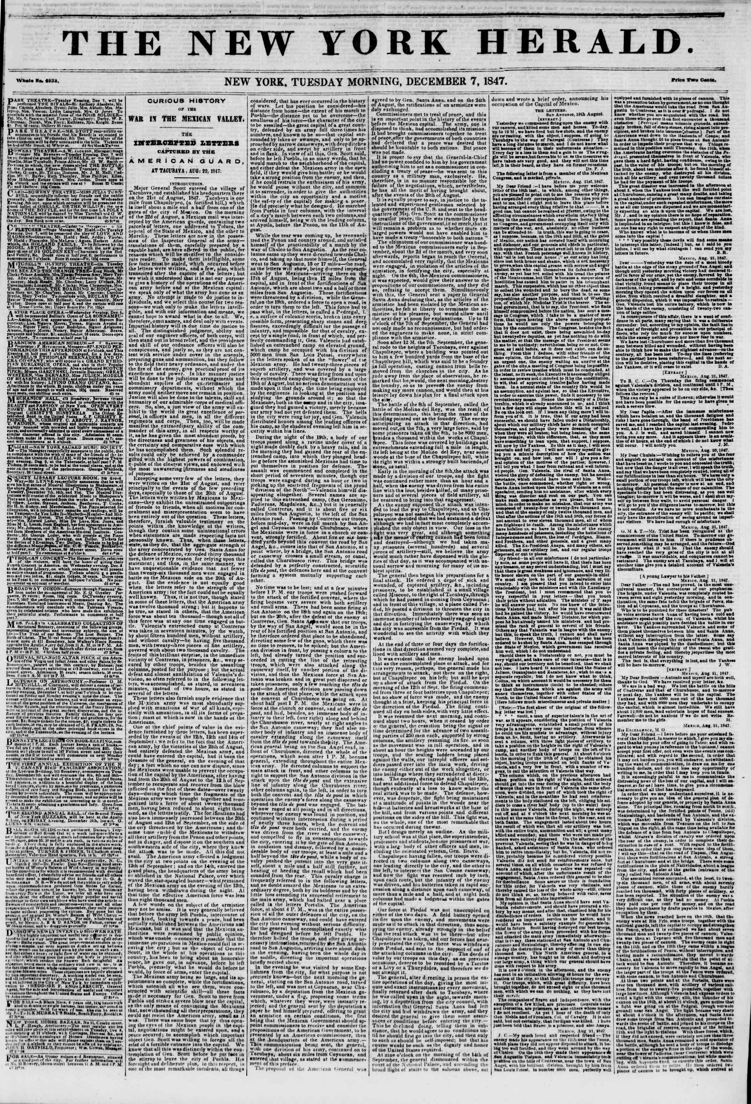 Newspaper of The New York Herald dated December 7, 1847 Page 1