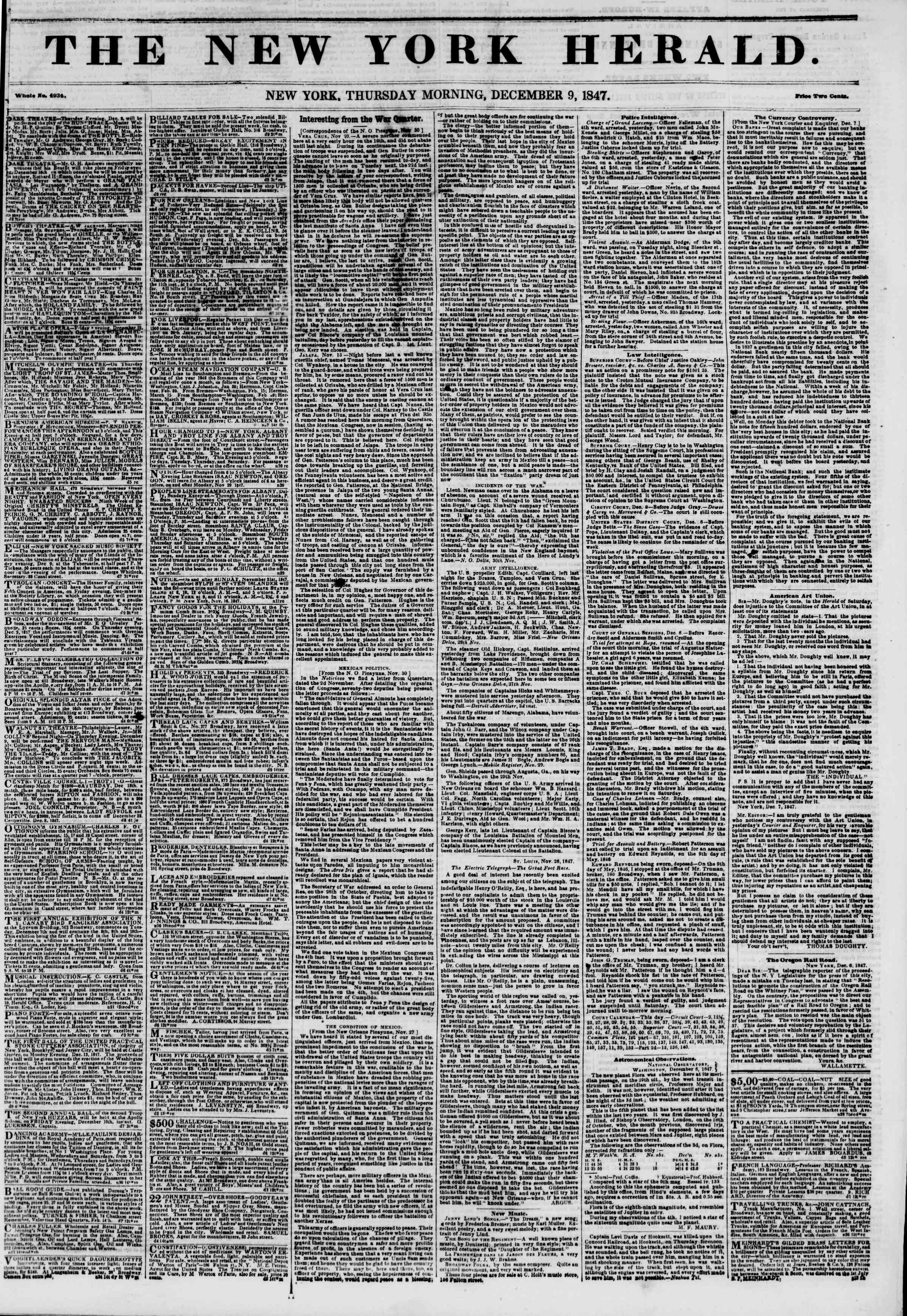 Newspaper of The New York Herald dated December 9, 1847 Page 1