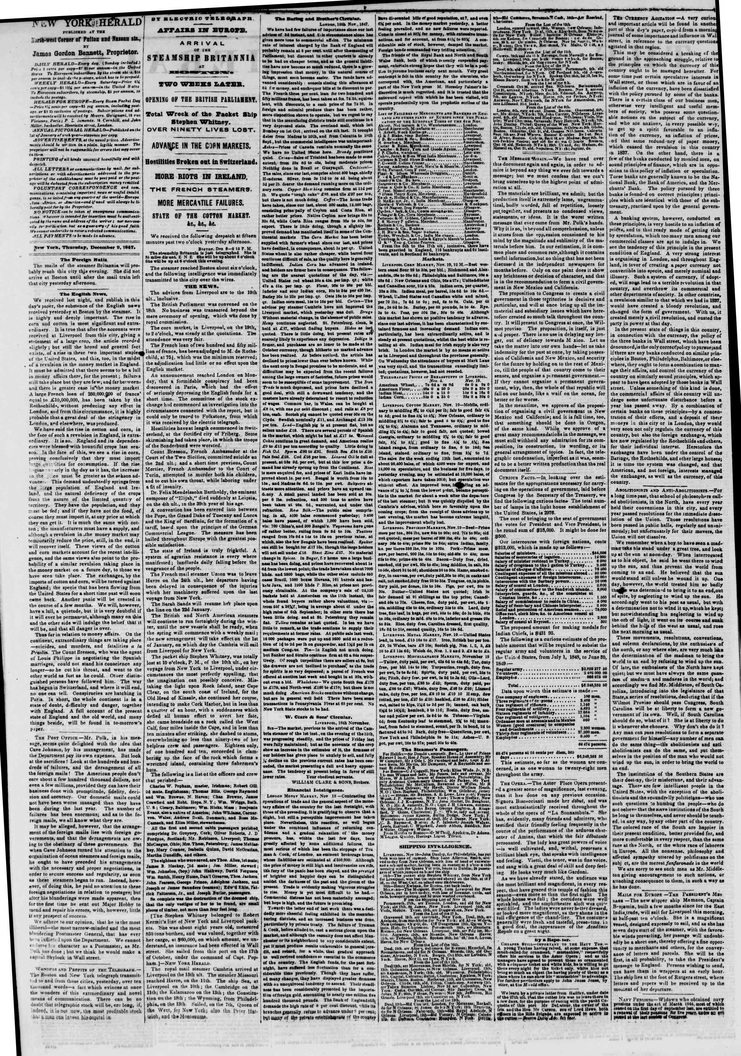 Newspaper of The New York Herald dated December 9, 1847 Page 2