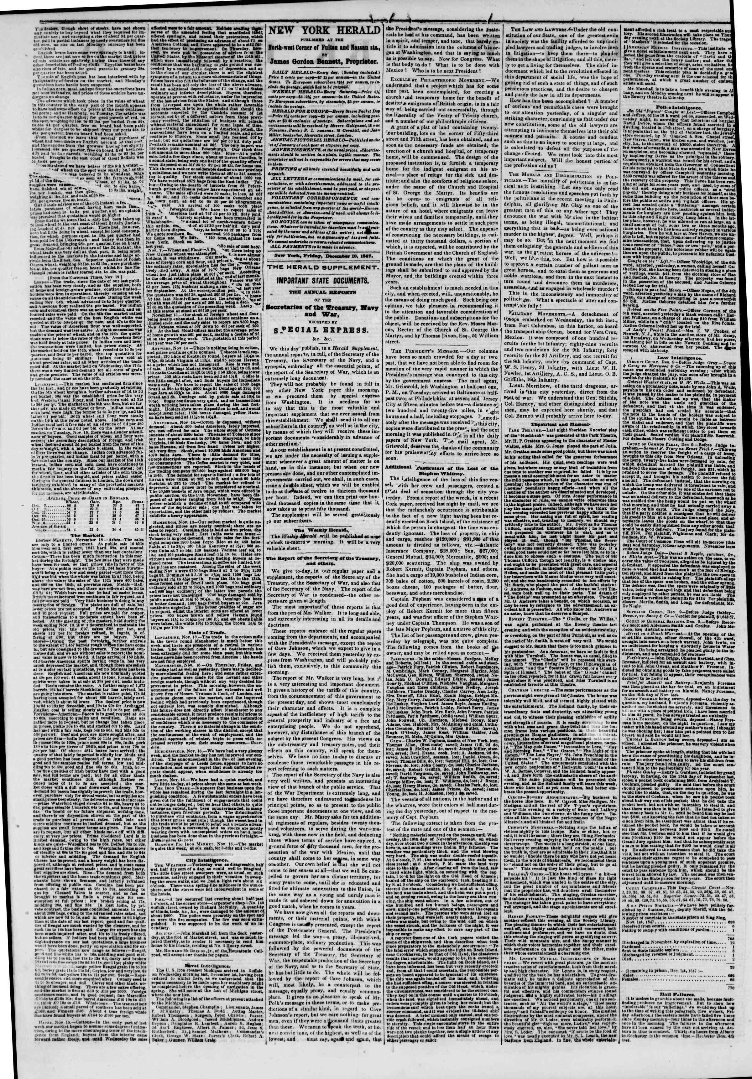 Newspaper of The New York Herald dated December 10, 1847 Page 2