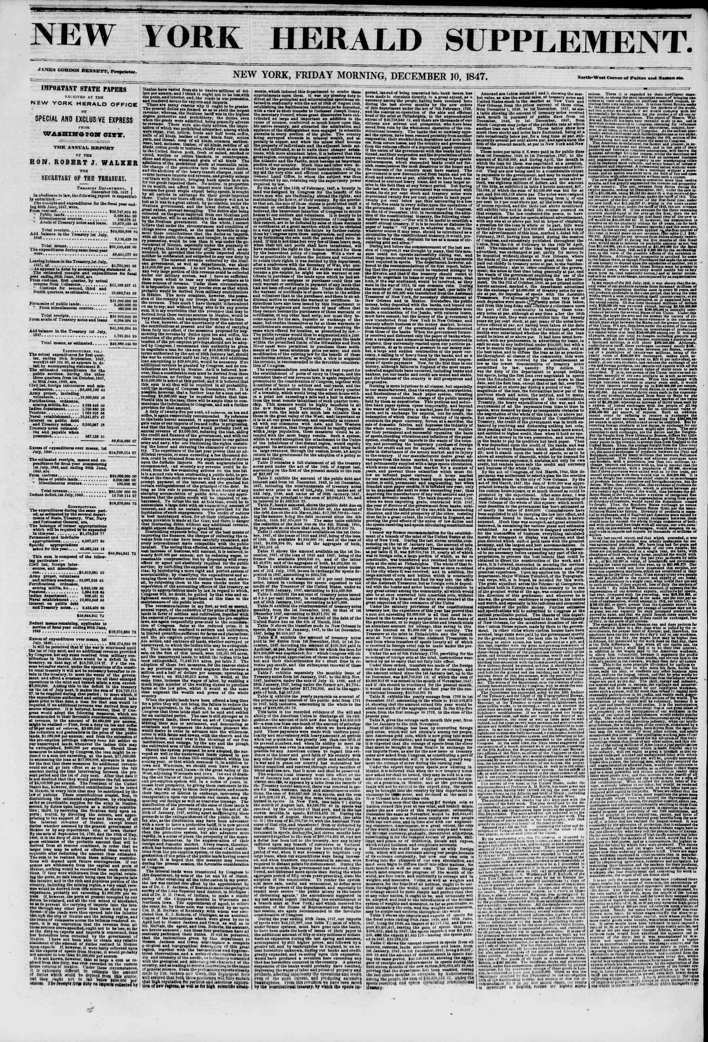 Newspaper of The New York Herald dated December 10, 1847 Page 5