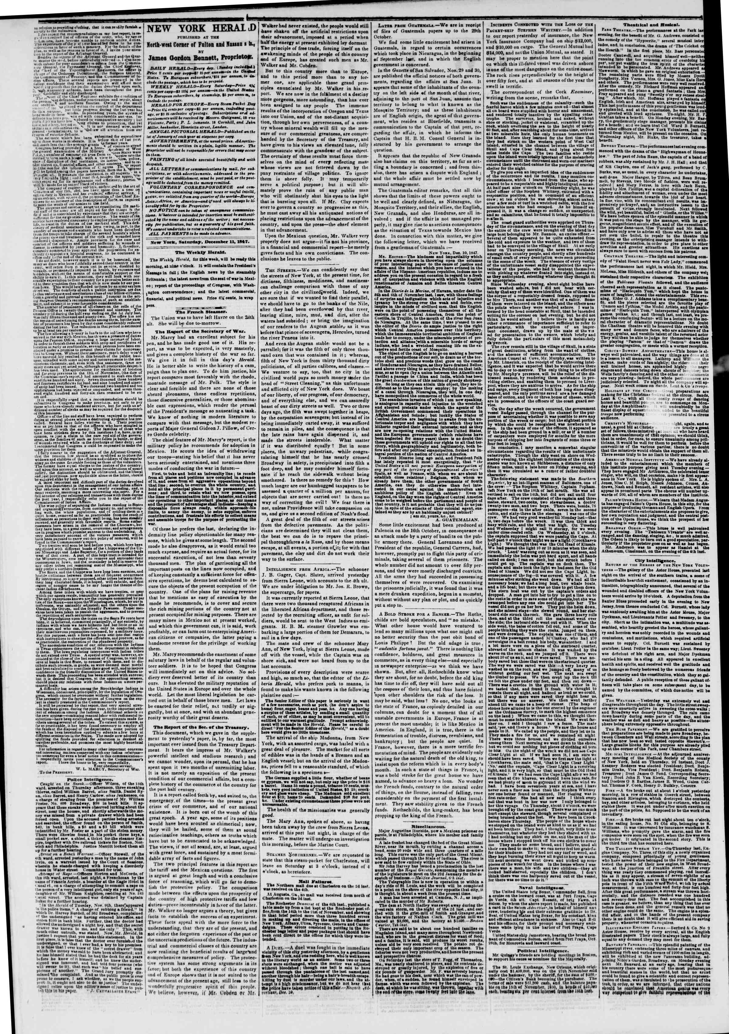 Newspaper of The New York Herald dated December 11, 1847 Page 2