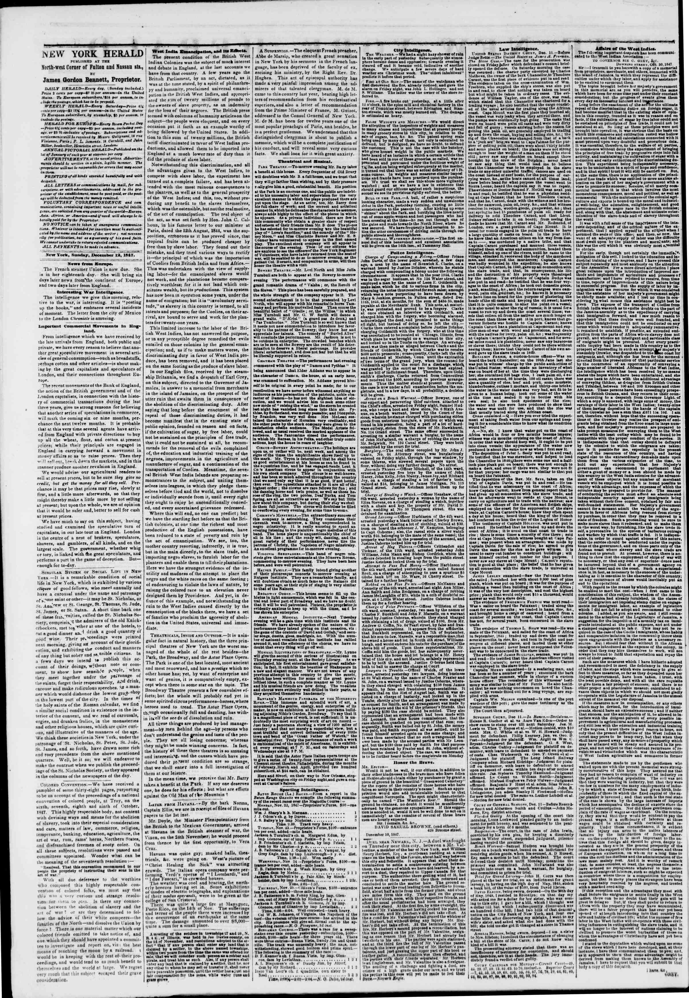 Newspaper of The New York Herald dated December 12, 1847 Page 2