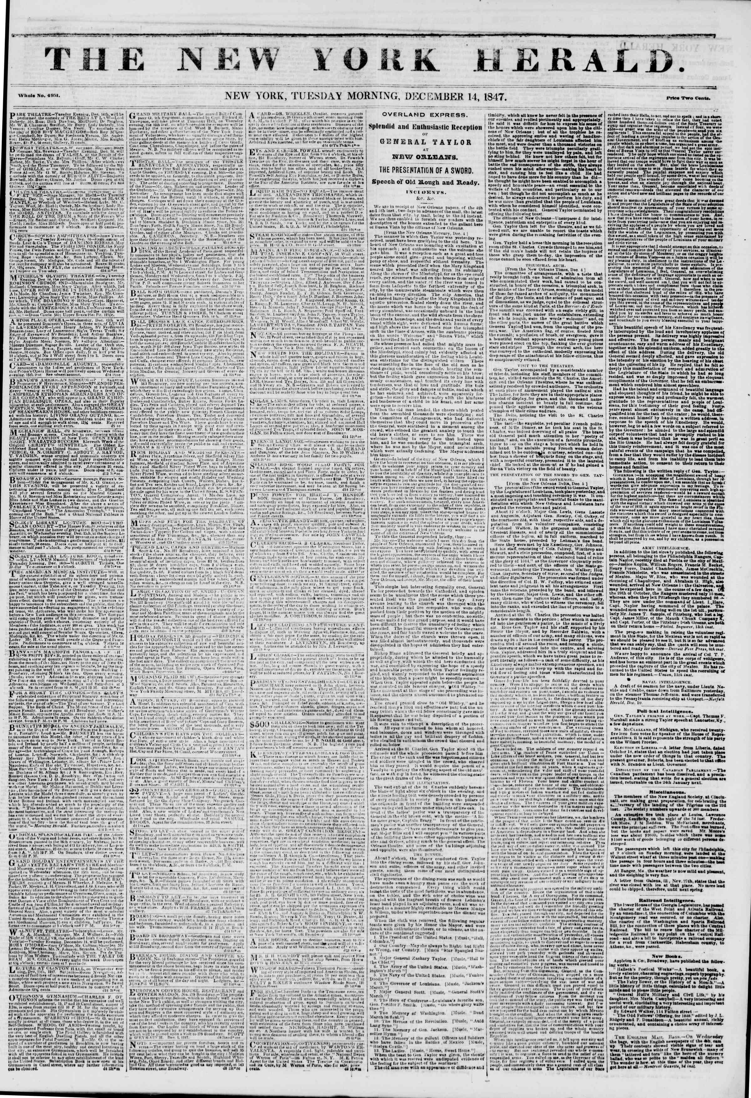 Newspaper of The New York Herald dated December 14, 1847 Page 1