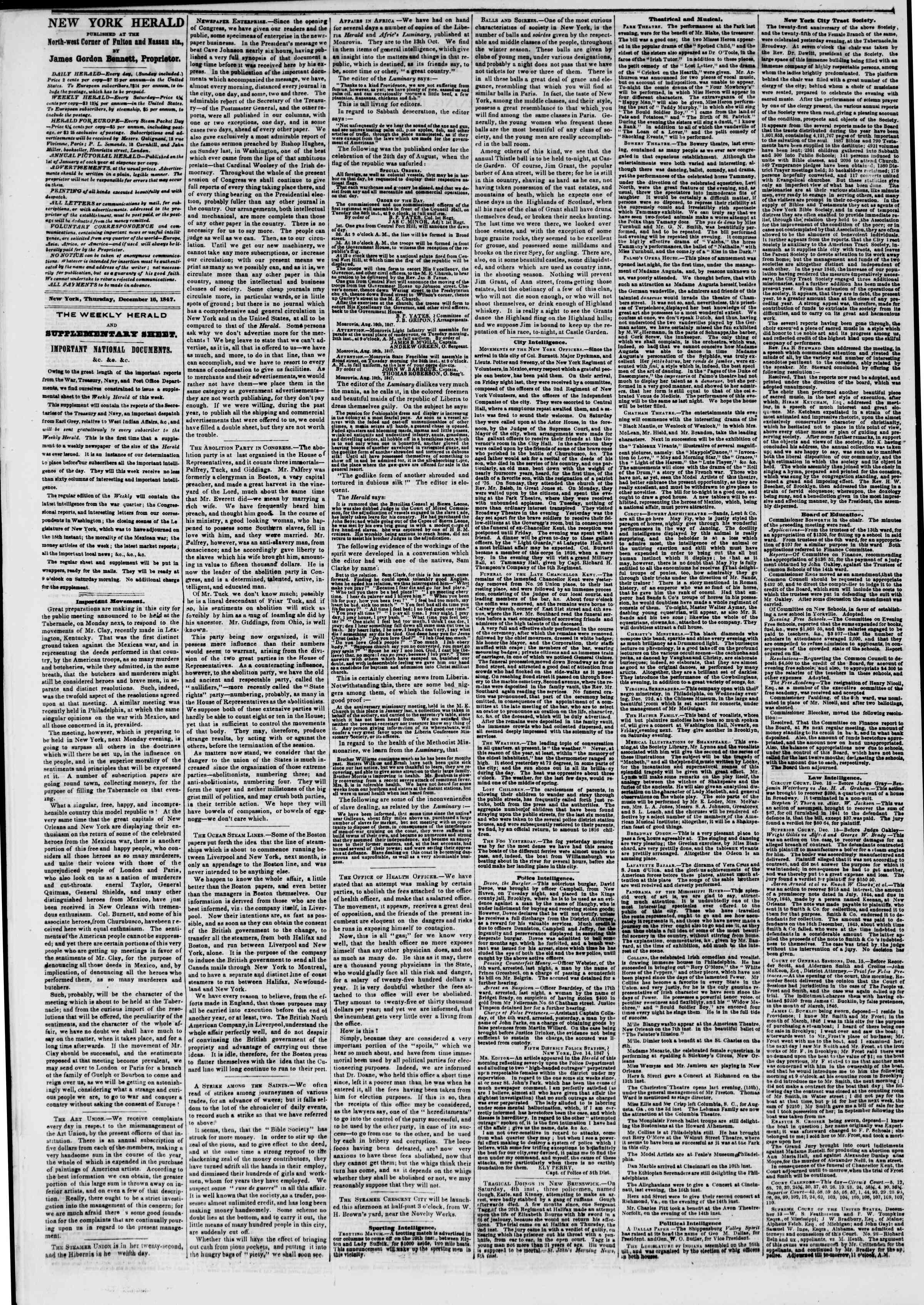 Newspaper of The New York Herald dated December 16, 1847 Page 2