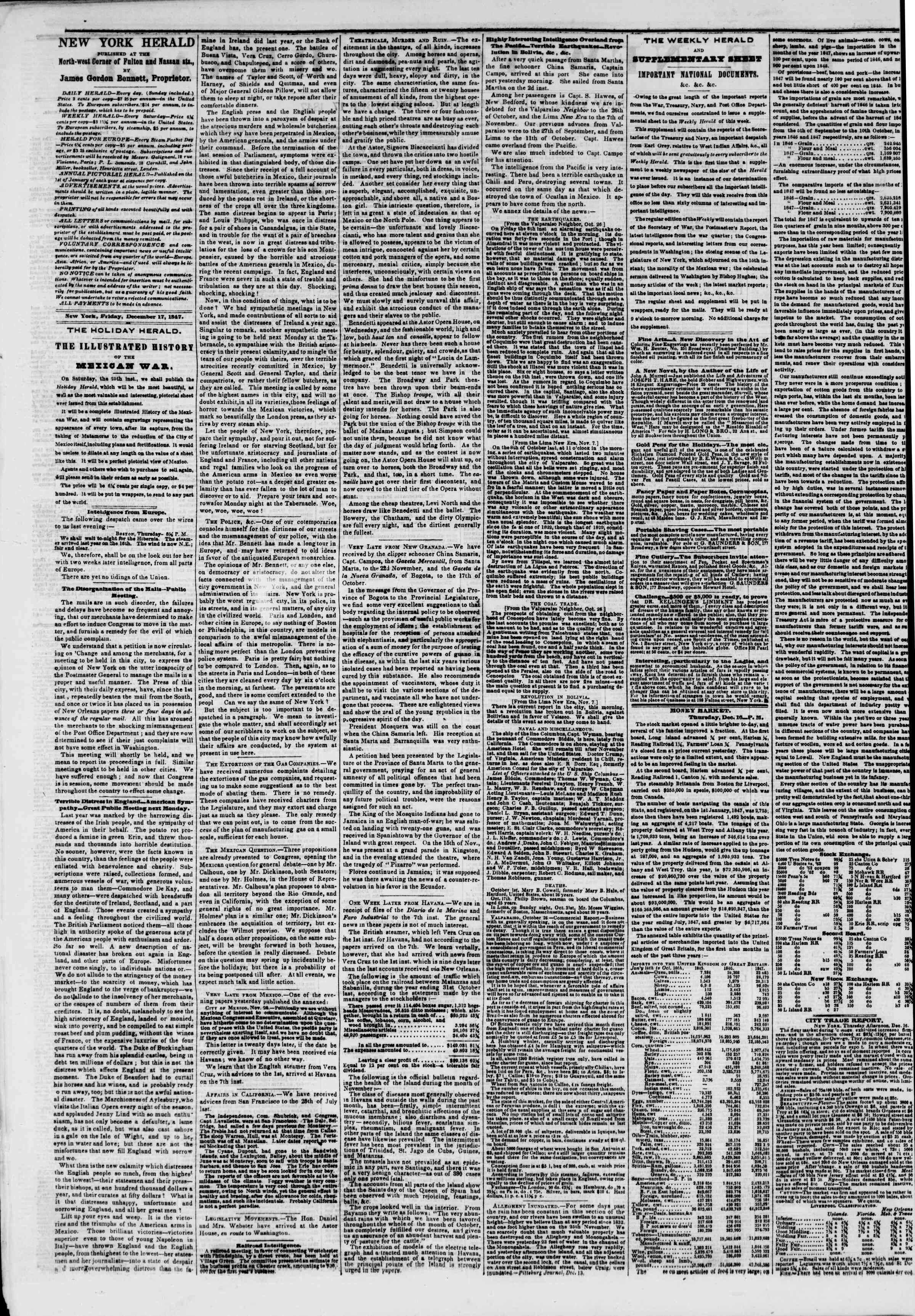 Newspaper of The New York Herald dated December 17, 1847 Page 2