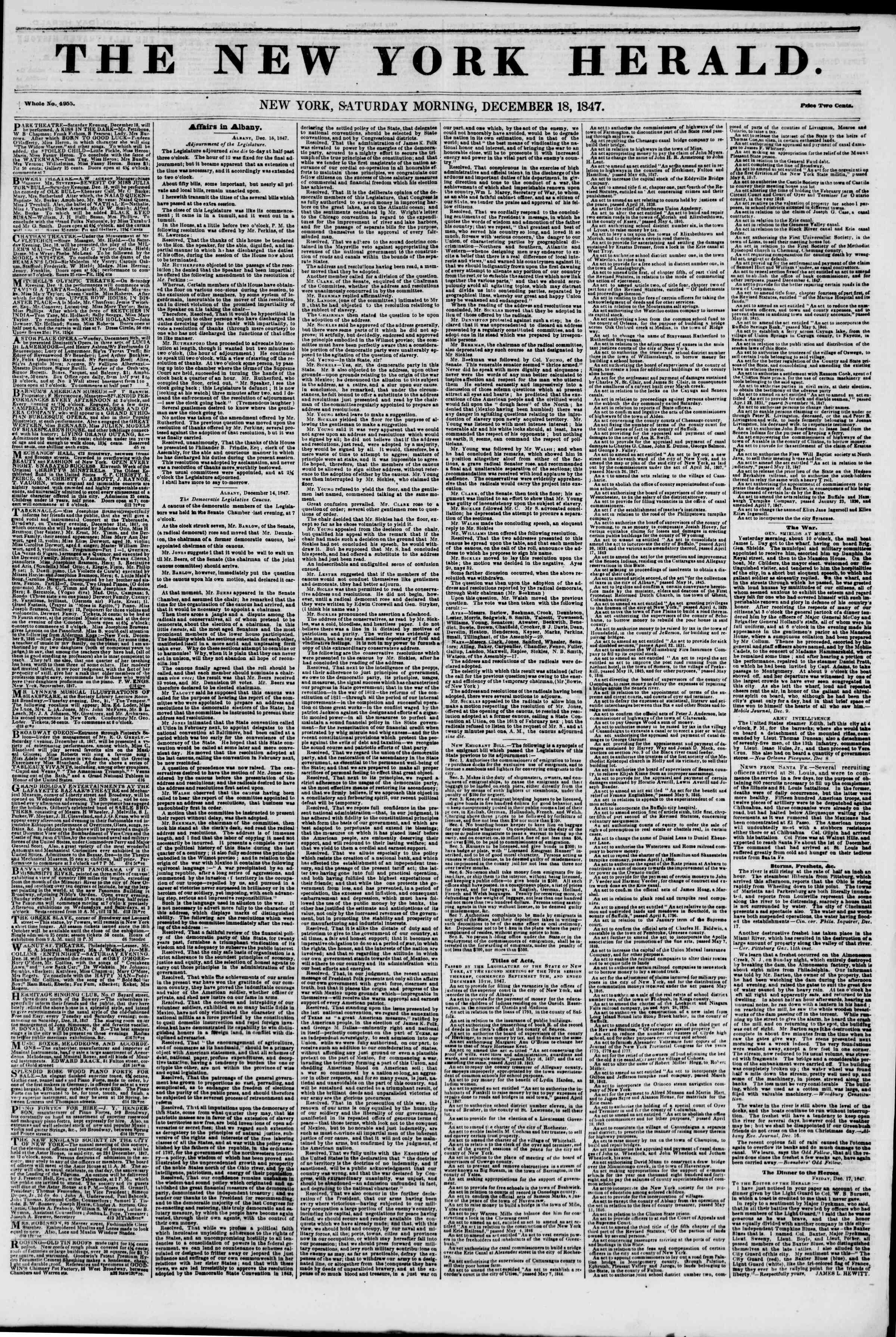 18 Aralık 1847 tarihli The New York Herald Gazetesi Sayfa 1
