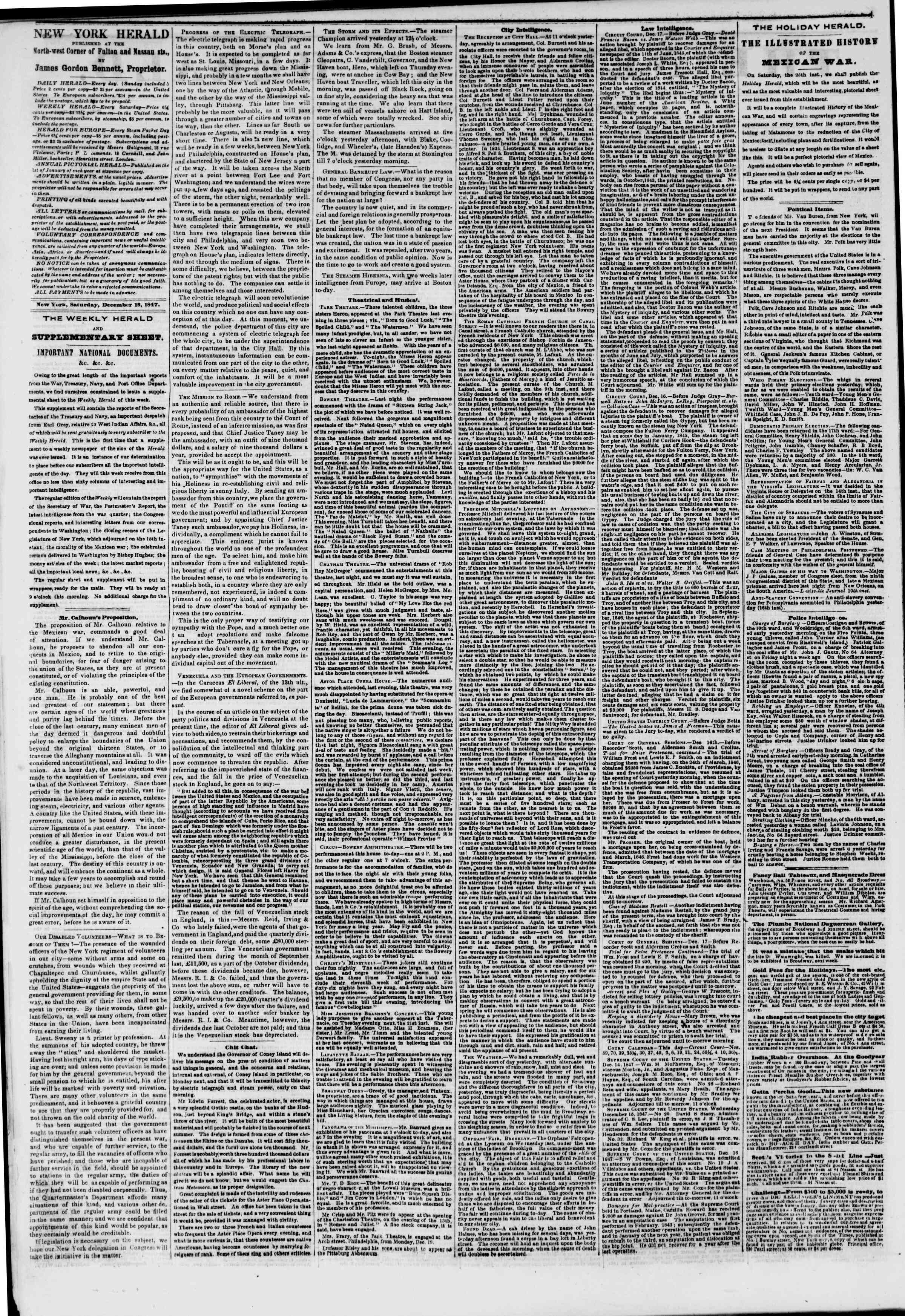 Newspaper of The New York Herald dated December 18, 1847 Page 2