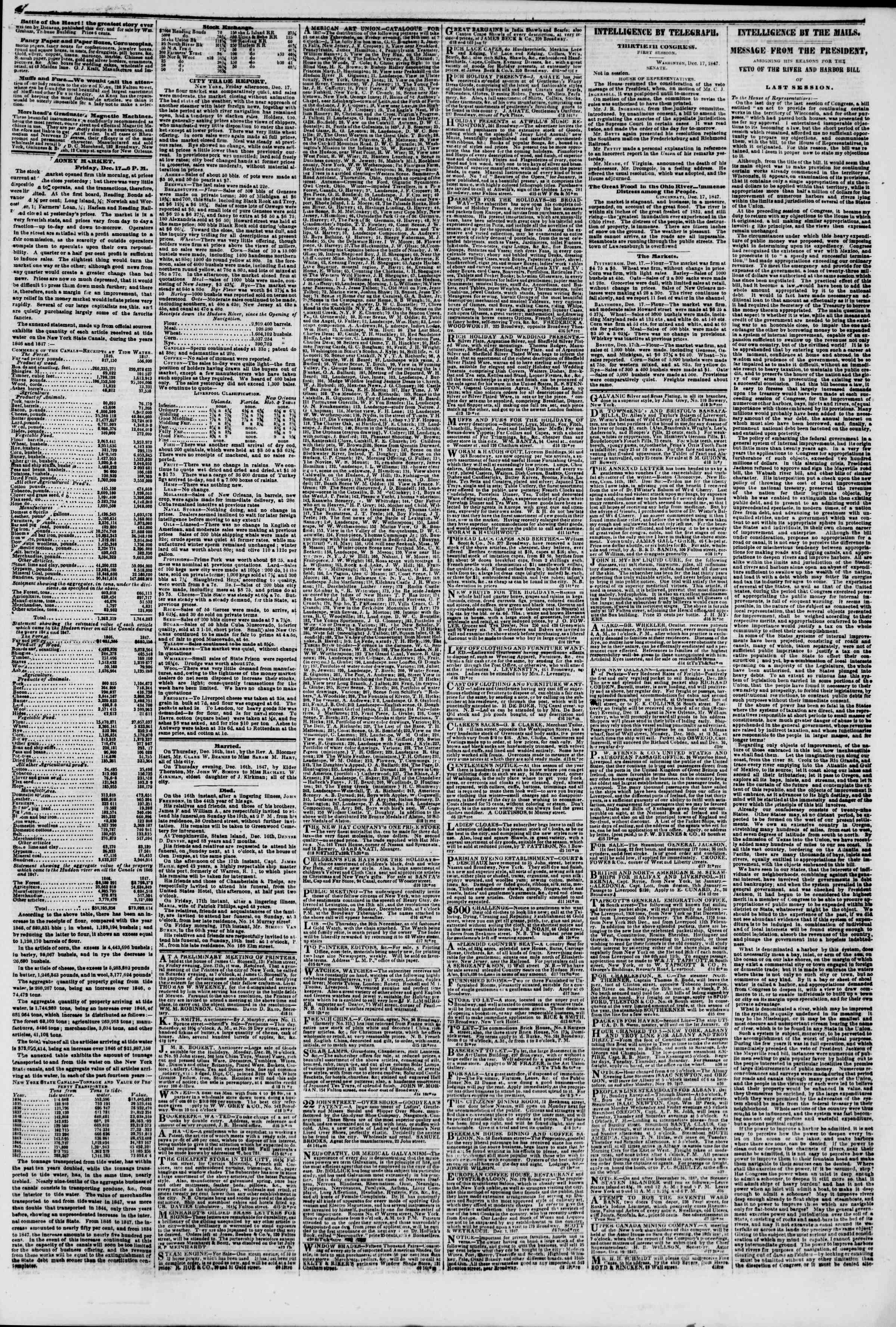 Newspaper of The New York Herald dated December 18, 1847 Page 3