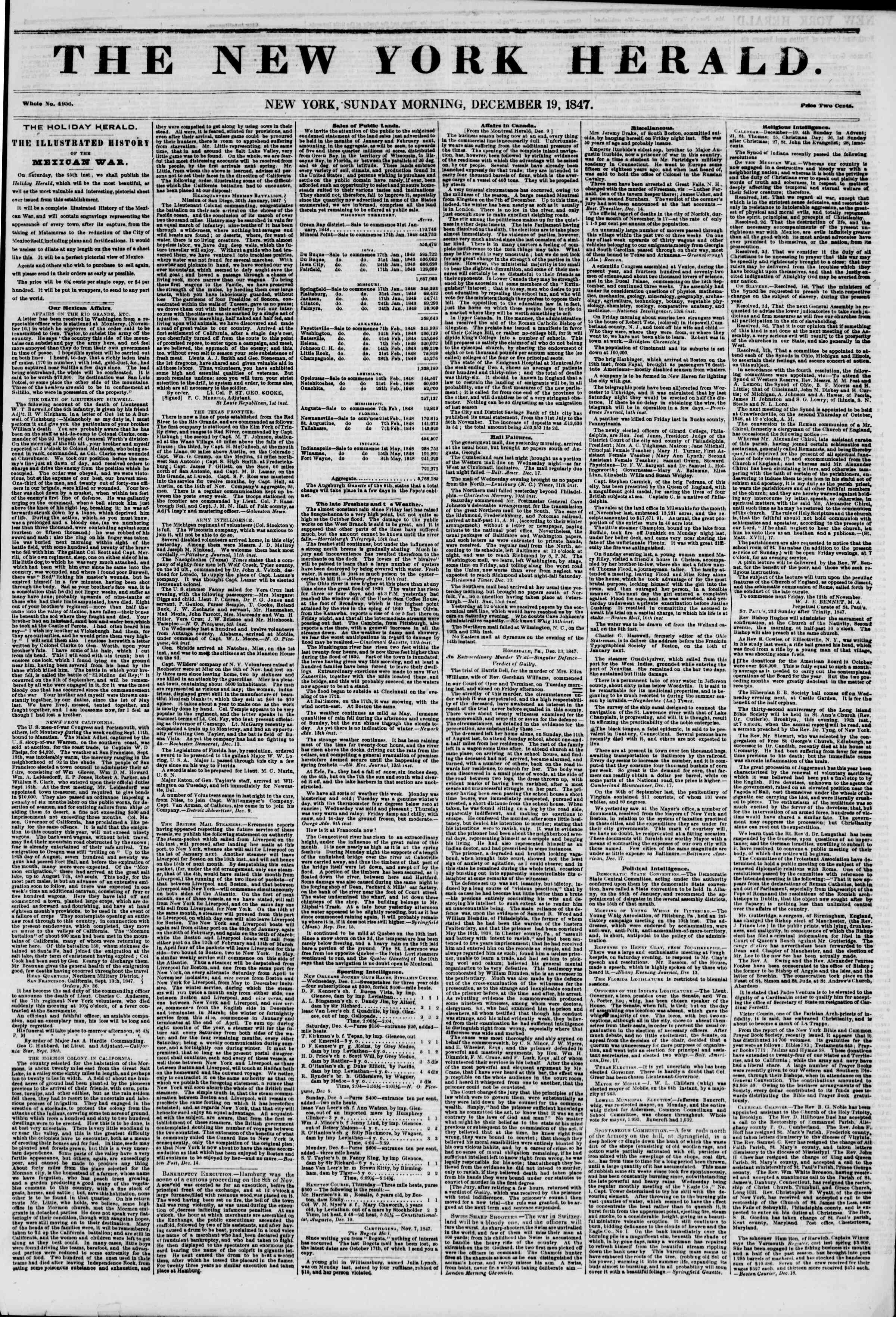 Newspaper of The New York Herald dated December 19, 1847 Page 1