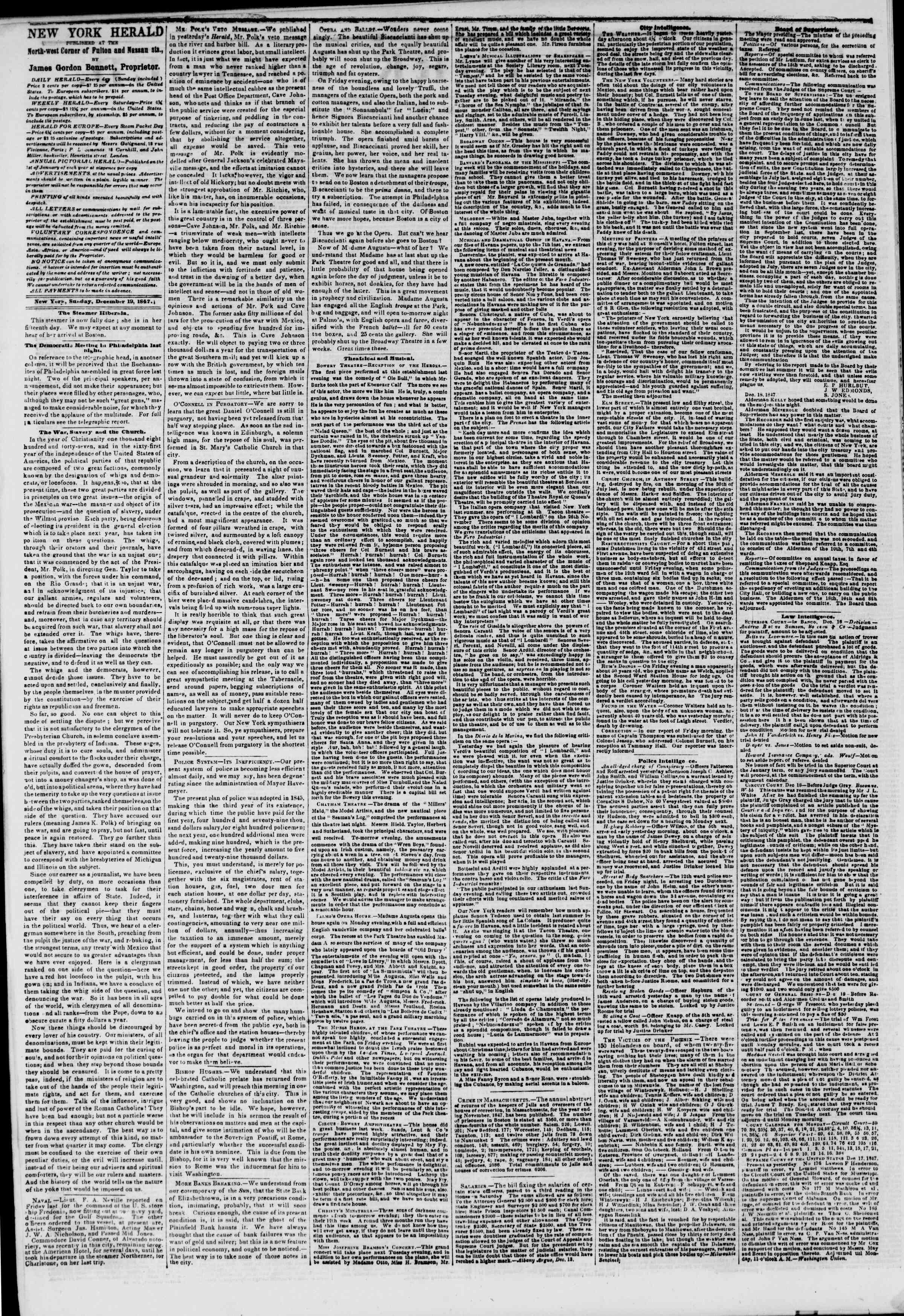 Newspaper of The New York Herald dated December 19, 1847 Page 2