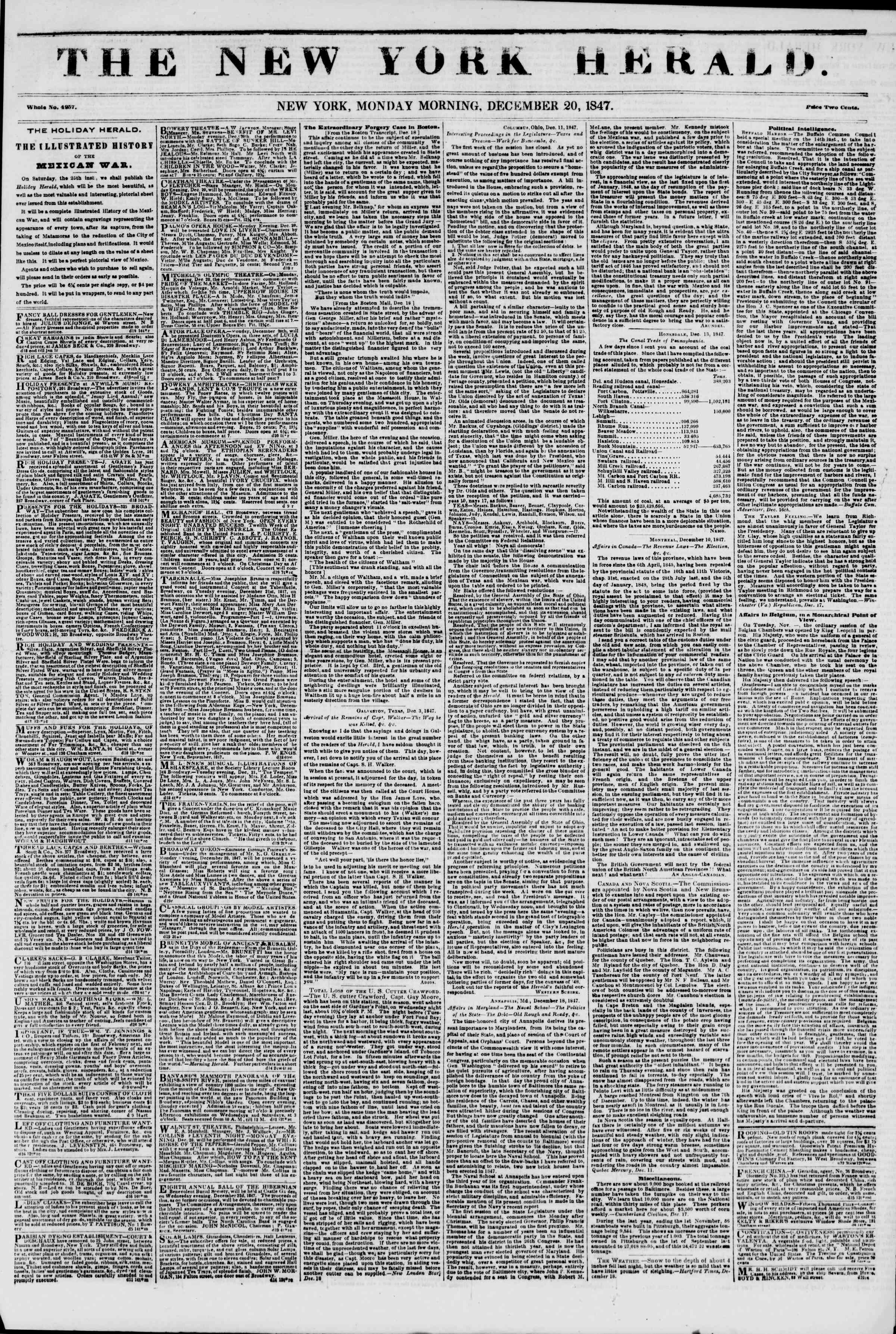 Newspaper of The New York Herald dated December 20, 1847 Page 1