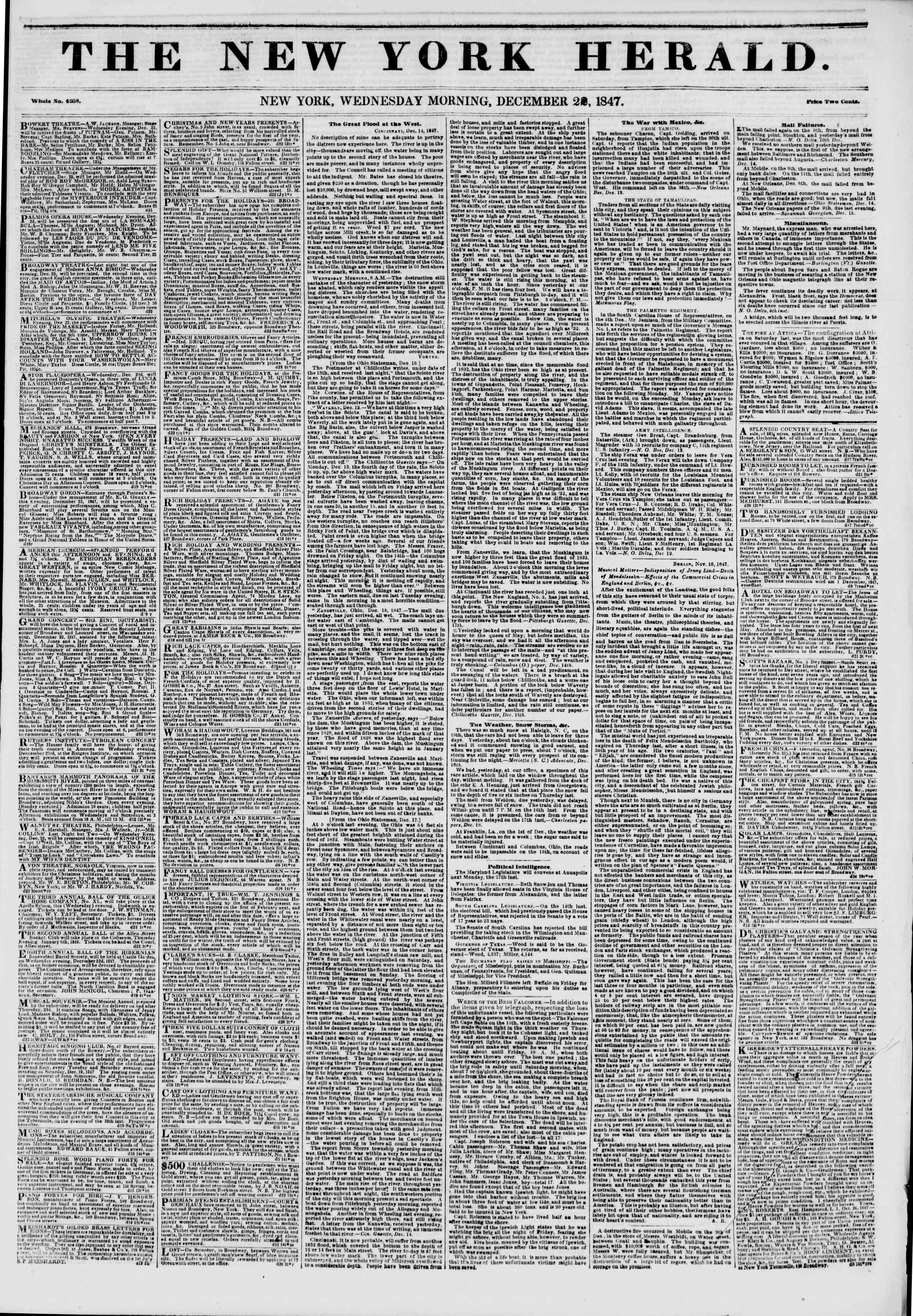 Newspaper of The New York Herald dated December 22, 1847 Page 1