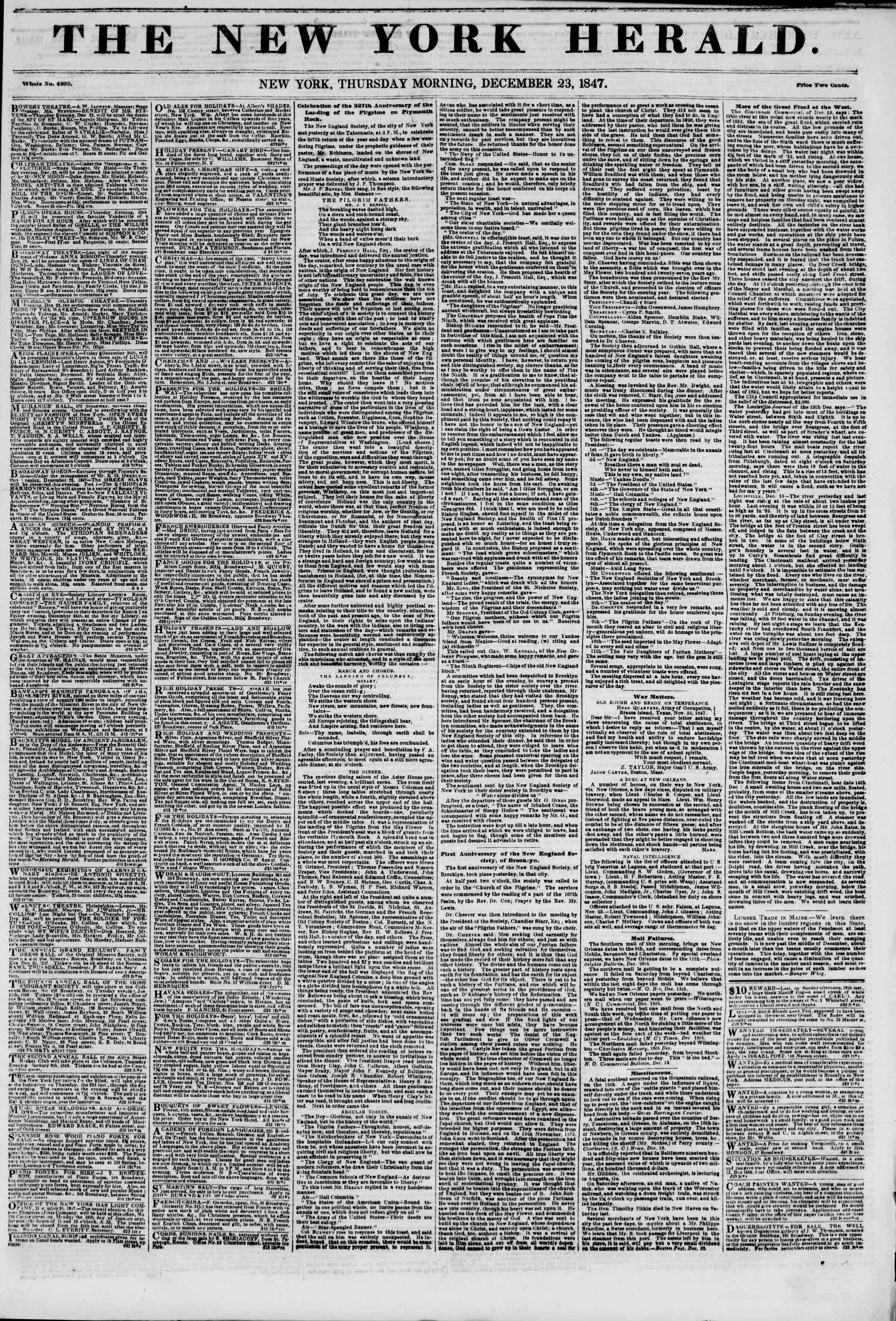 Newspaper of The New York Herald dated December 23, 1847 Page 1
