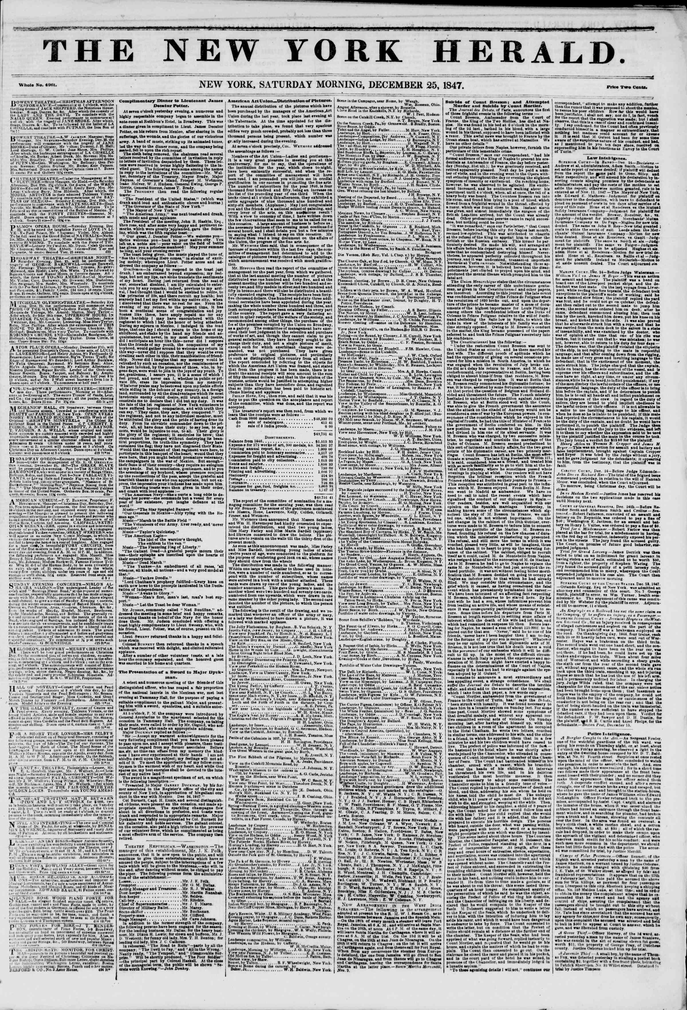 Newspaper of The New York Herald dated December 25, 1847 Page 1