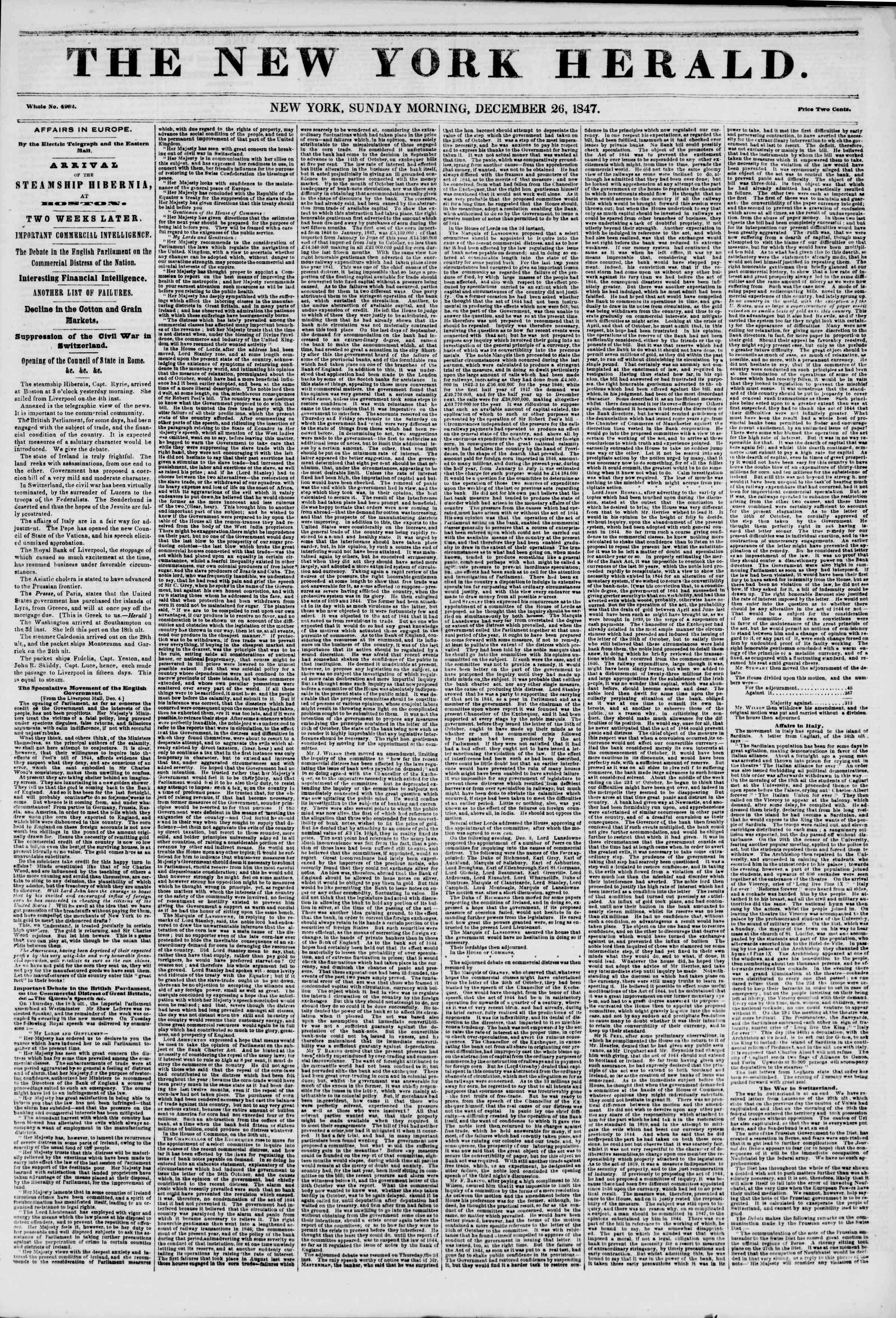 Newspaper of The New York Herald dated December 26, 1847 Page 1