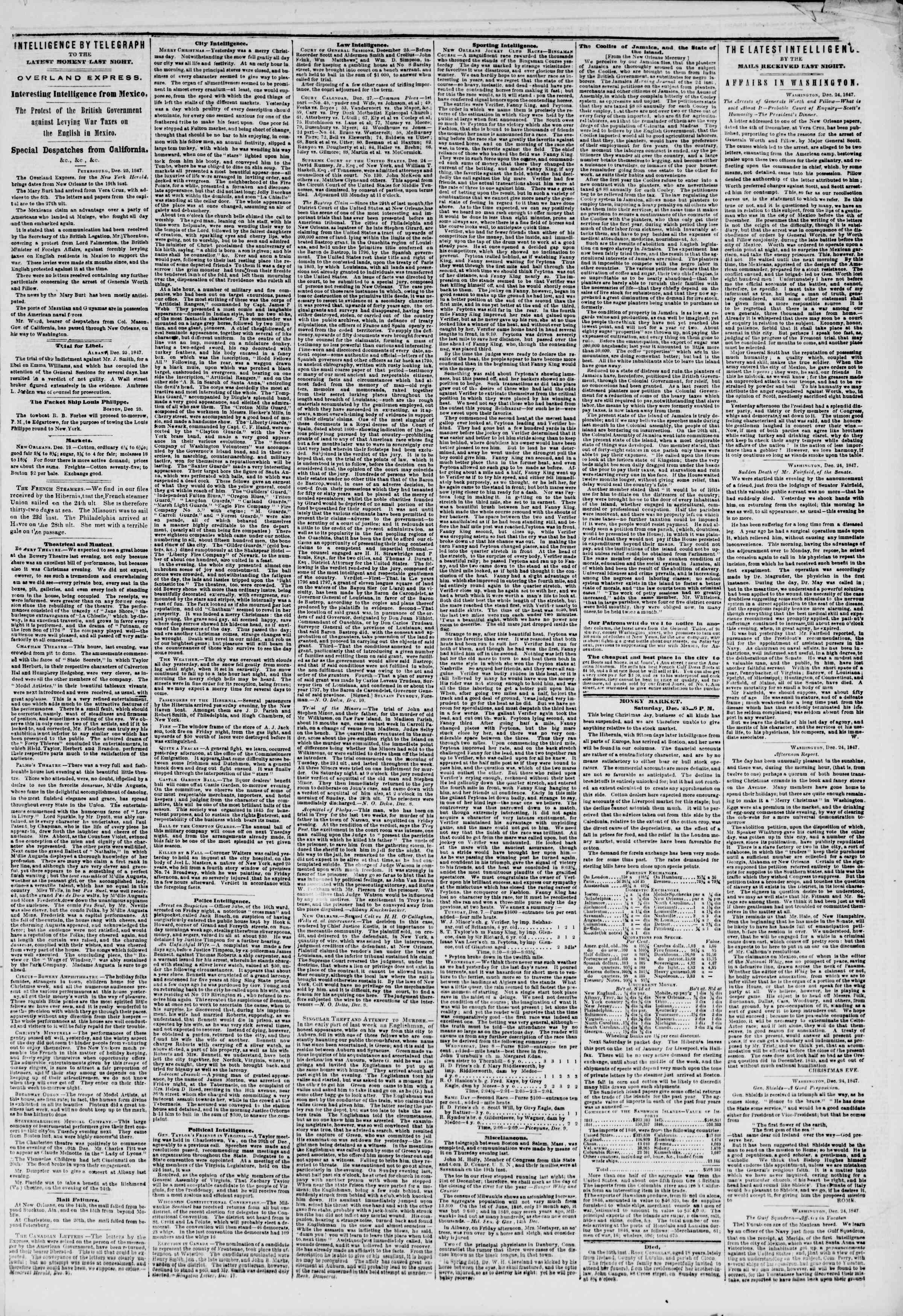 Newspaper of The New York Herald dated December 26, 1847 Page 3