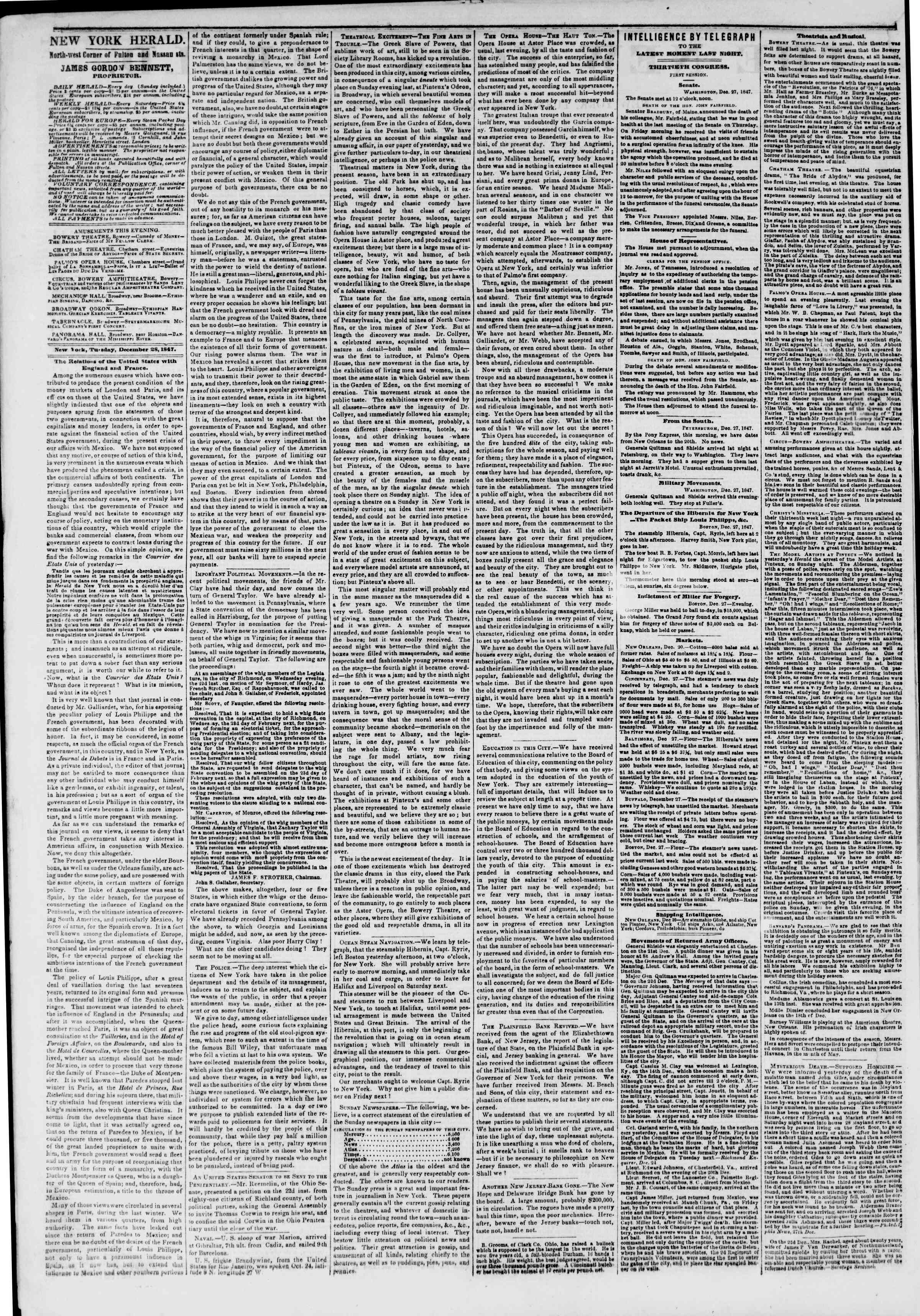 Newspaper of The New York Herald dated December 28, 1847 Page 2