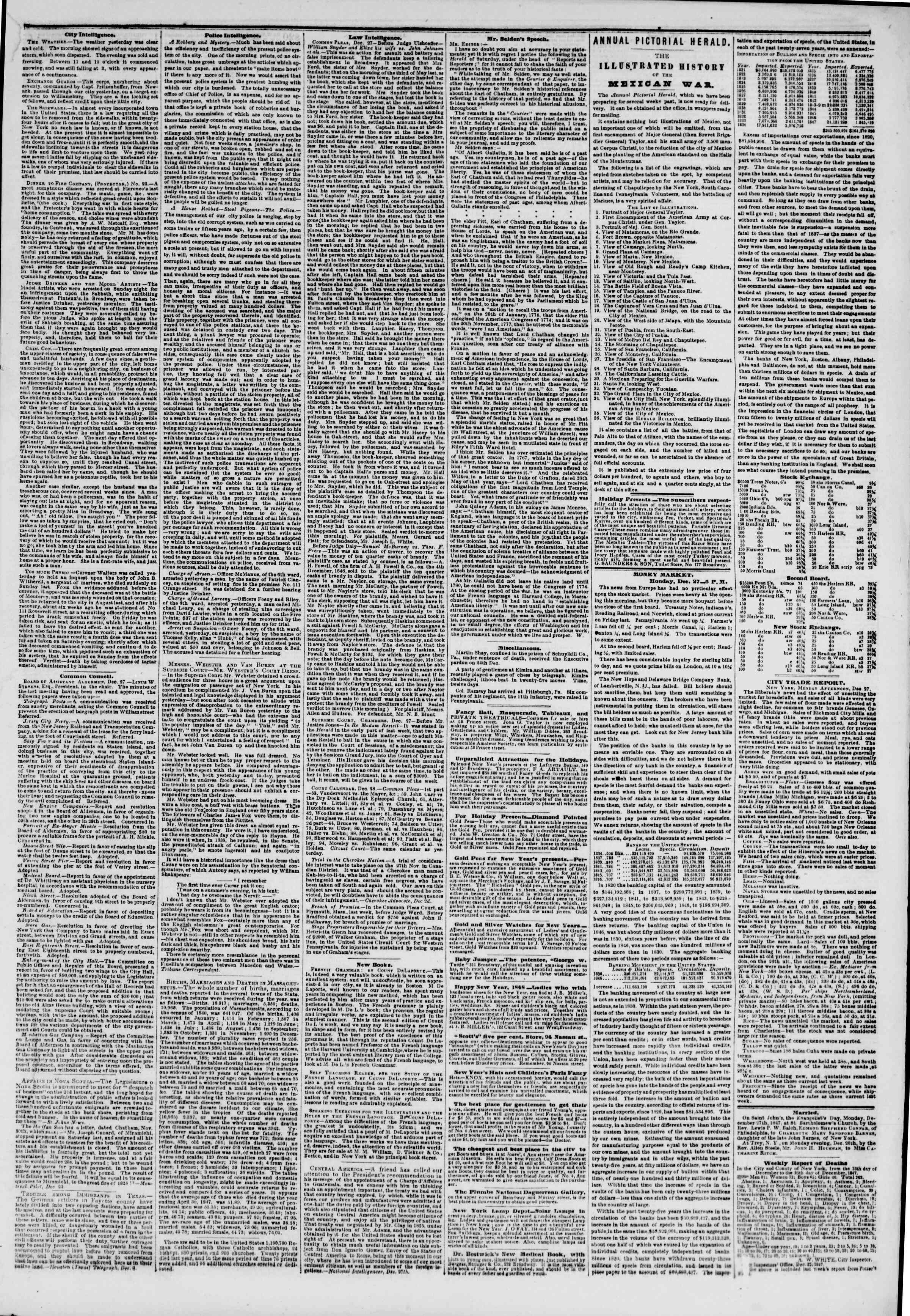 Newspaper of The New York Herald dated December 28, 1847 Page 3