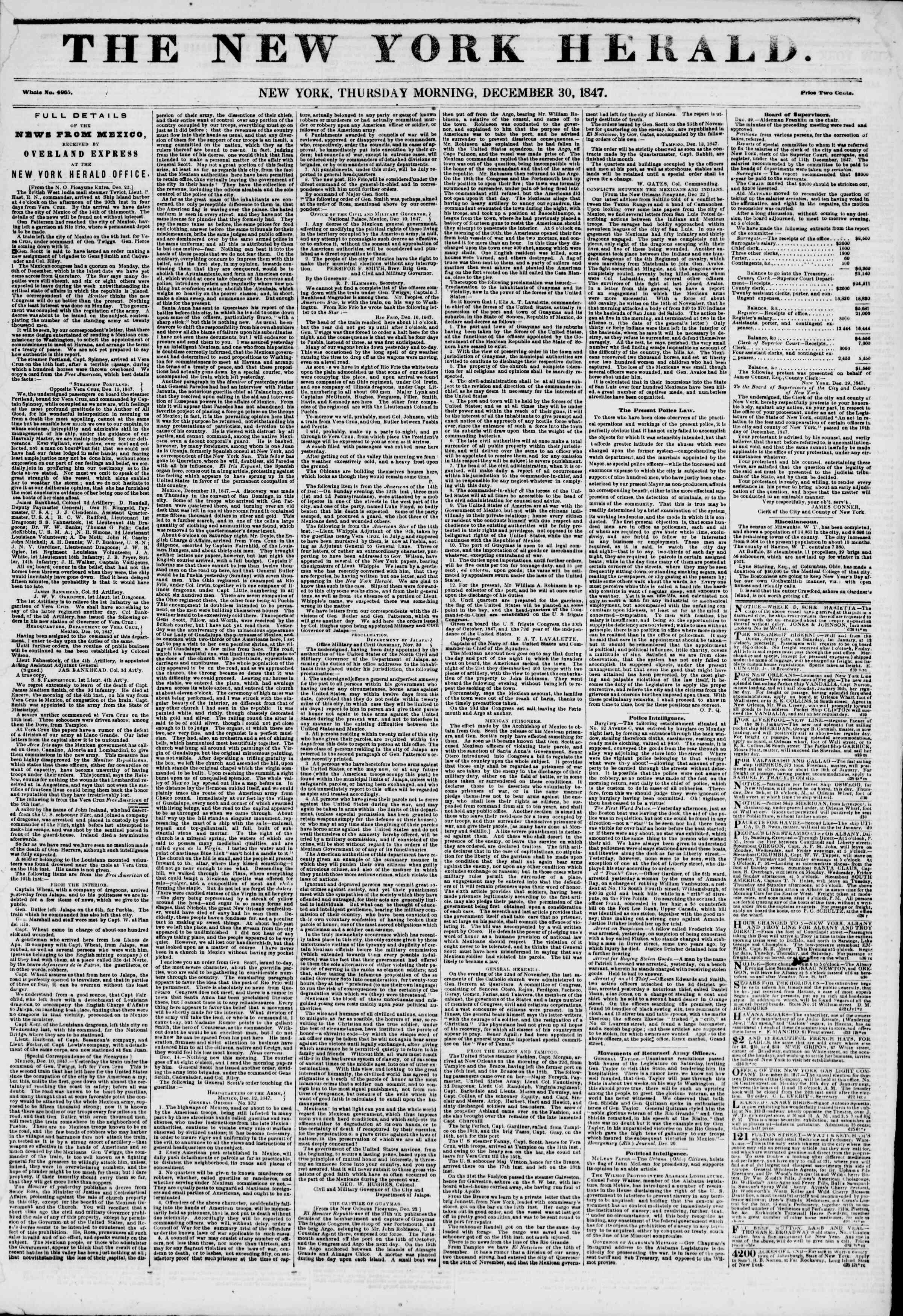 Newspaper of The New York Herald dated December 30, 1847 Page 1