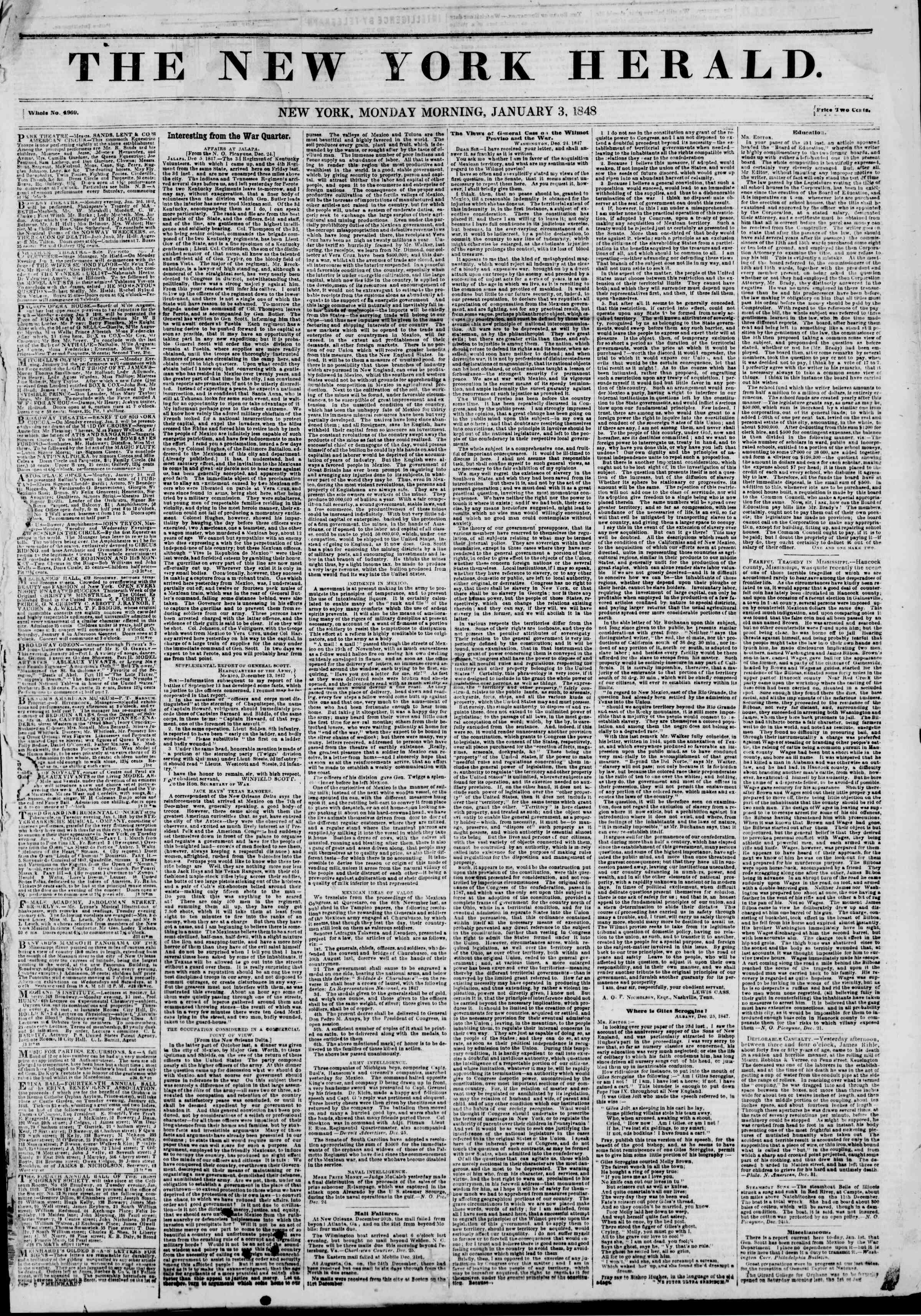 Newspaper of The New York Herald dated January 3, 1848 Page 1