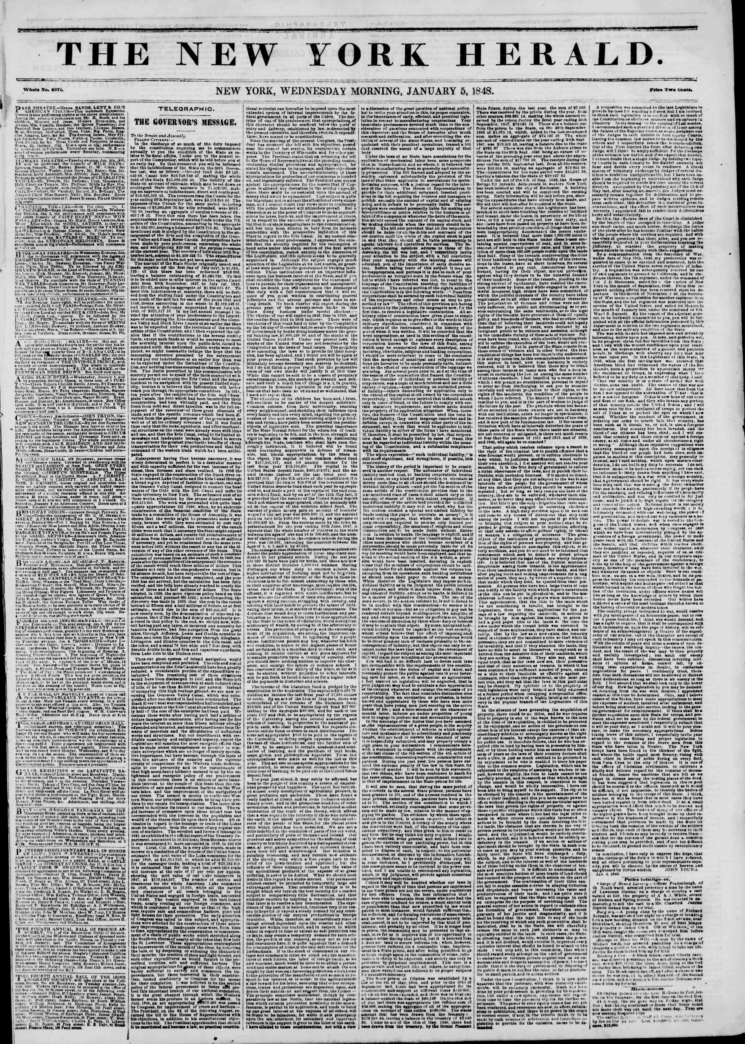 Newspaper of The New York Herald dated January 5, 1848 Page 1