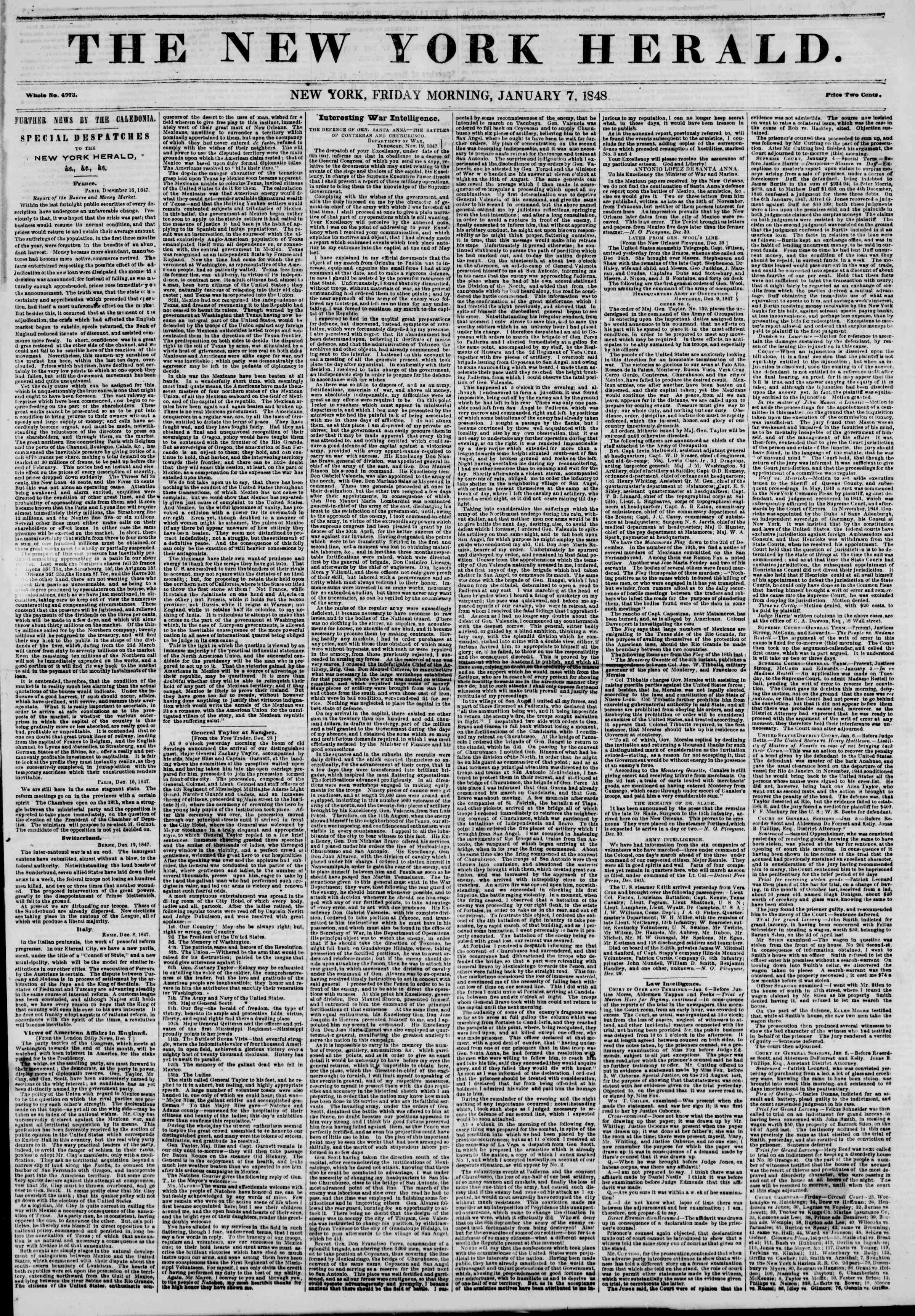 Newspaper of The New York Herald dated January 7, 1848 Page 1