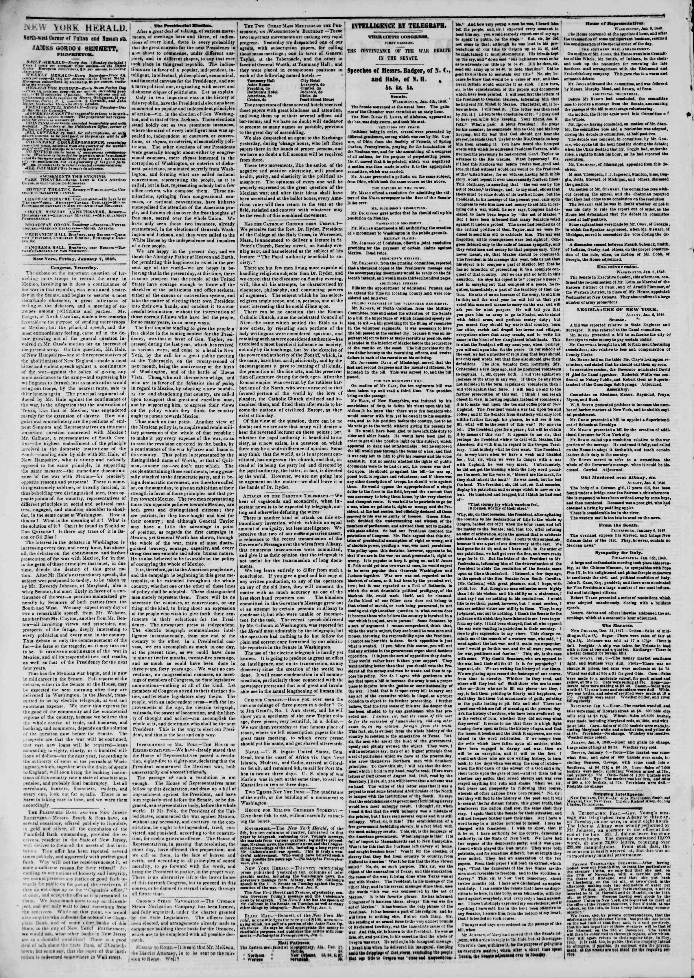Newspaper of The New York Herald dated January 7, 1848 Page 2