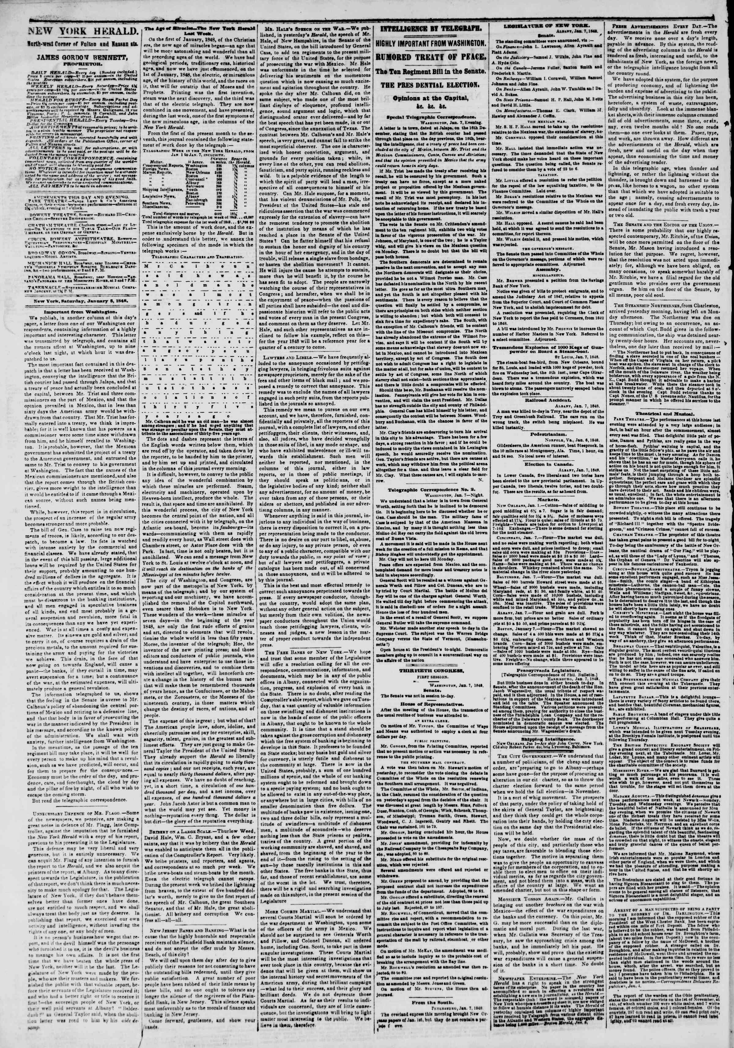 Newspaper of The New York Herald dated January 8, 1848 Page 2