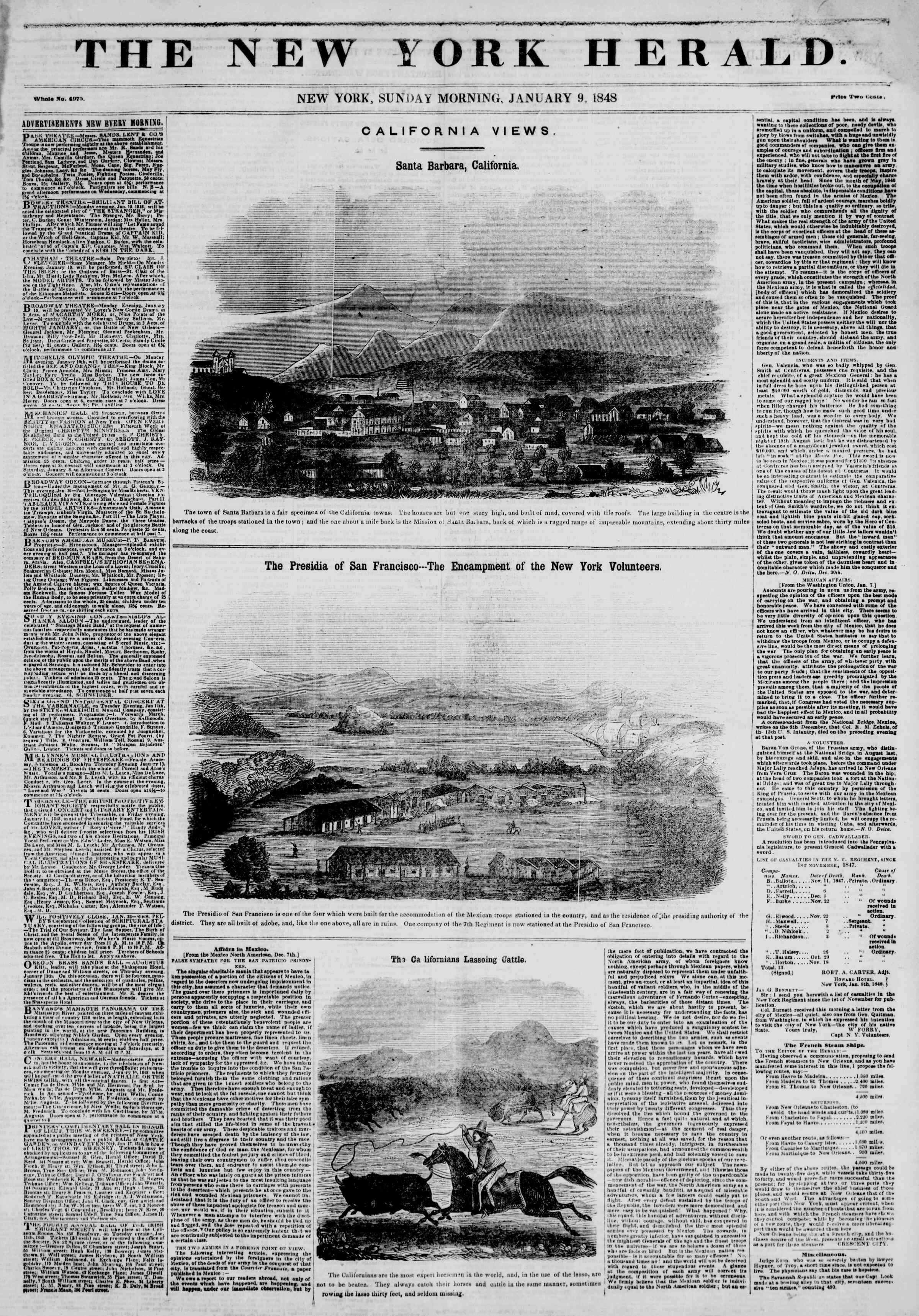 Newspaper of The New York Herald dated January 9, 1848 Page 1