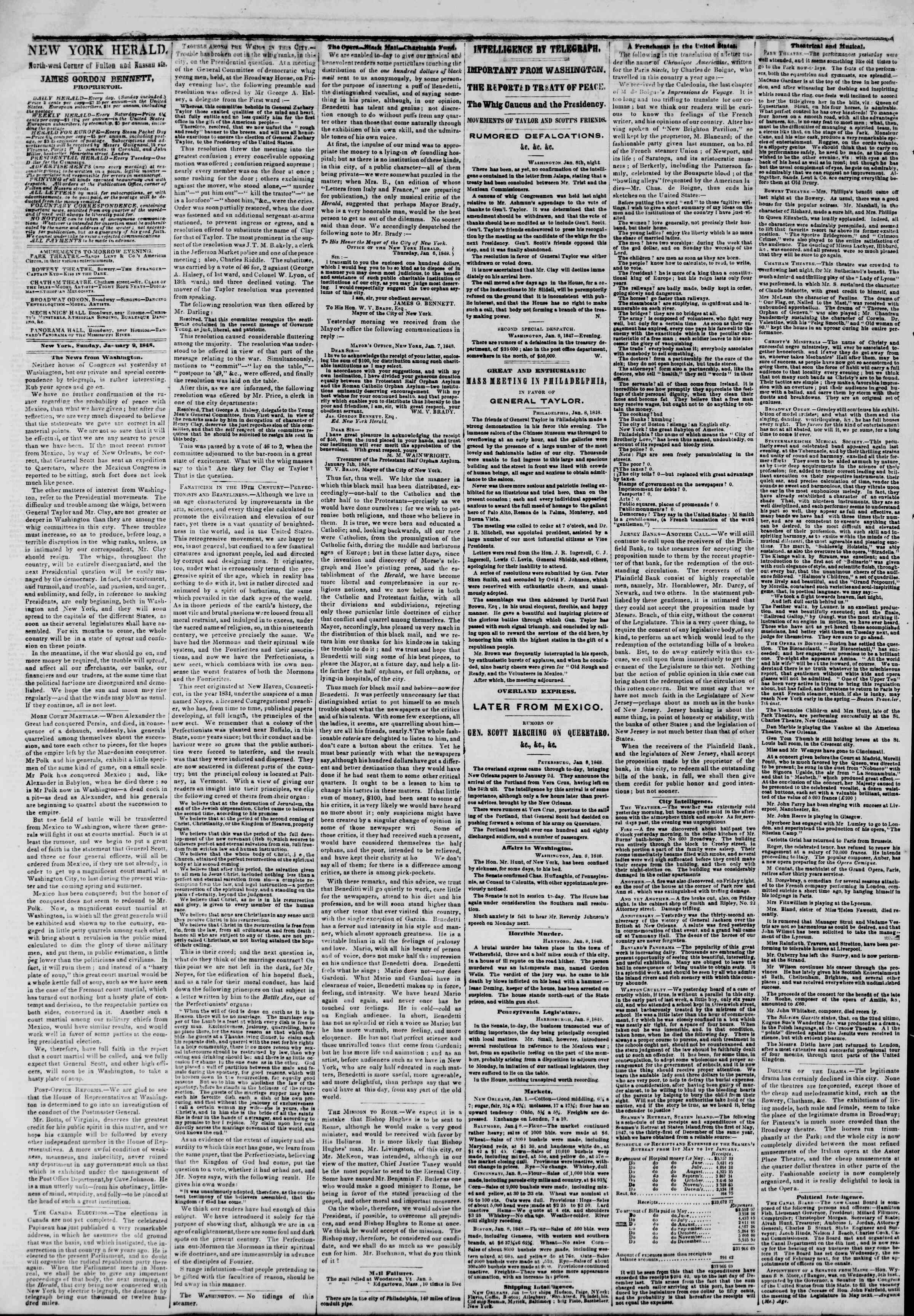 Newspaper of The New York Herald dated January 9, 1848 Page 2