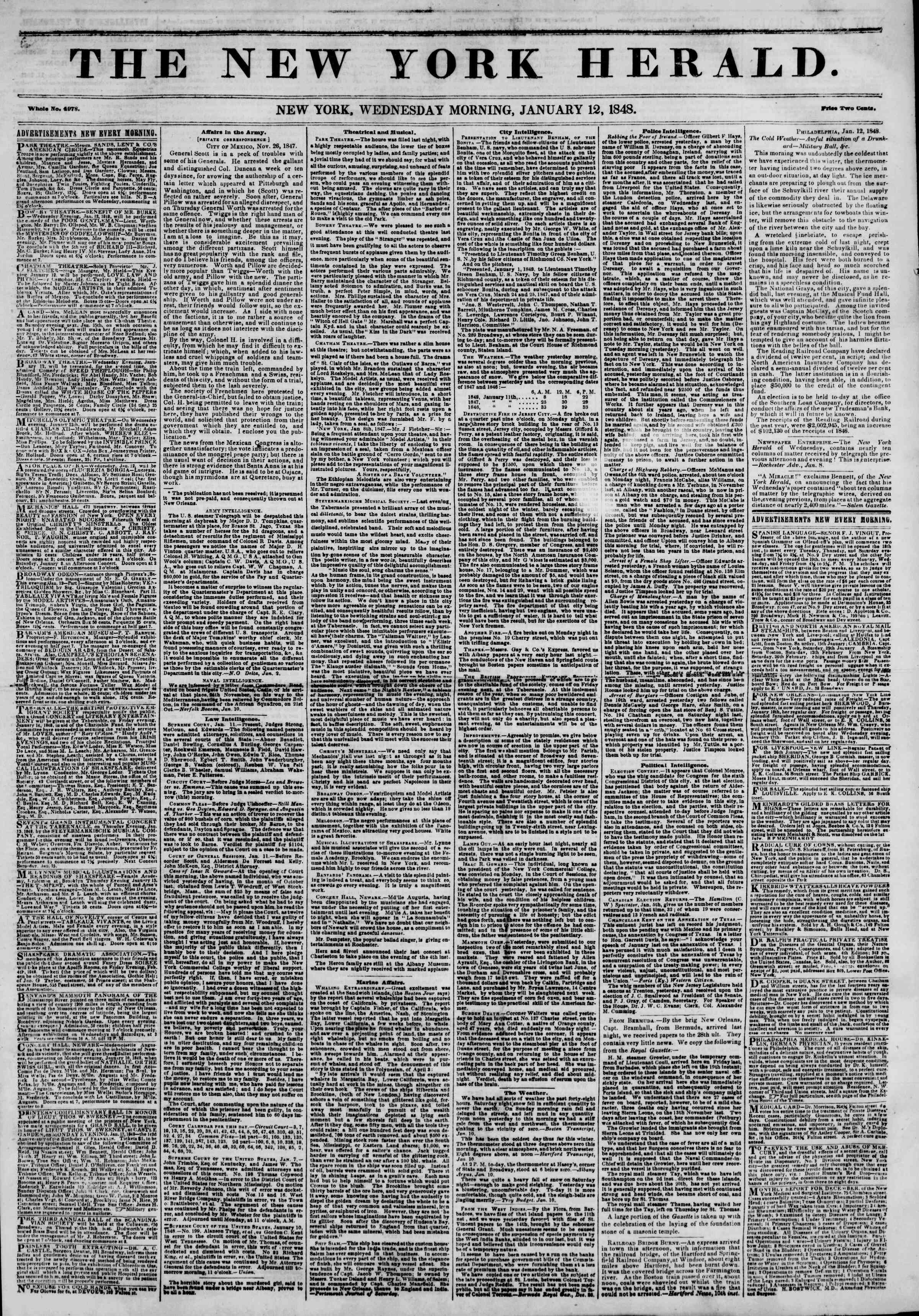 Newspaper of The New York Herald dated January 12, 1848 Page 1